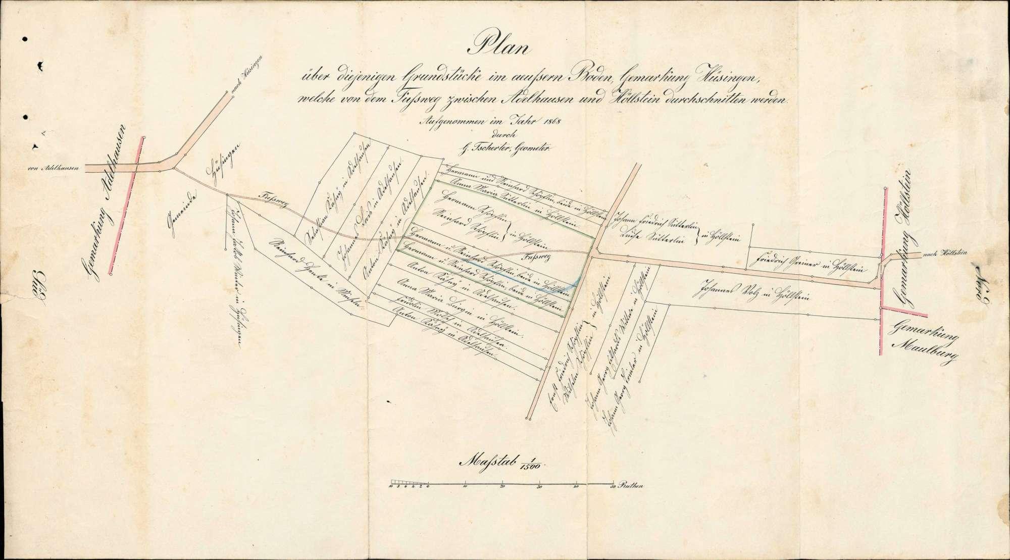 Bau eines Fußweges von Höllstein nach Adelhausen im Gewann Äußerer Boden auf Gemarkung Hüsingen, Bild 1