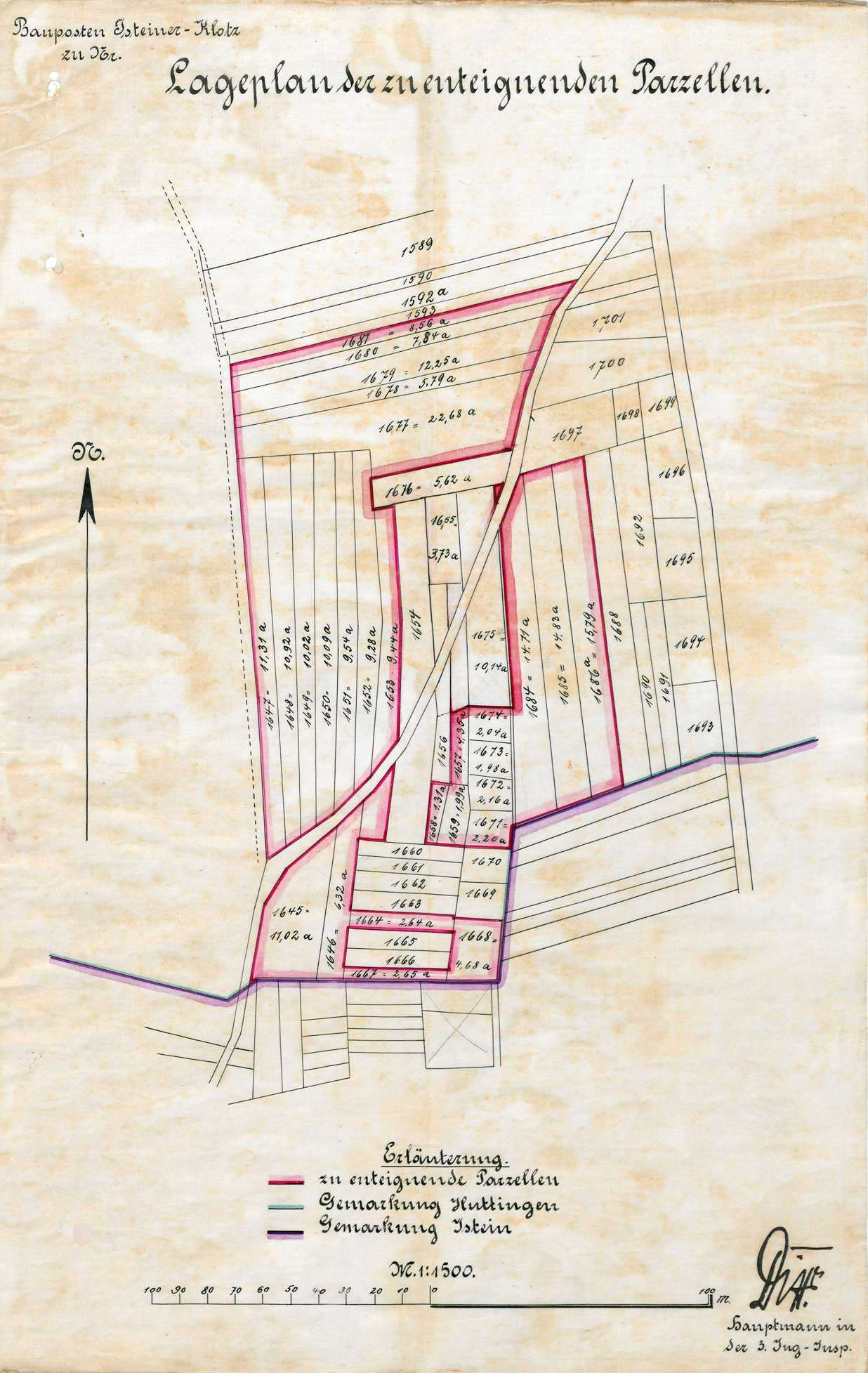 Enteignung von Grundstücken in Huttingen zum Zweck des Festungsbaus auf dem Isteiner Klotz, Bild 1