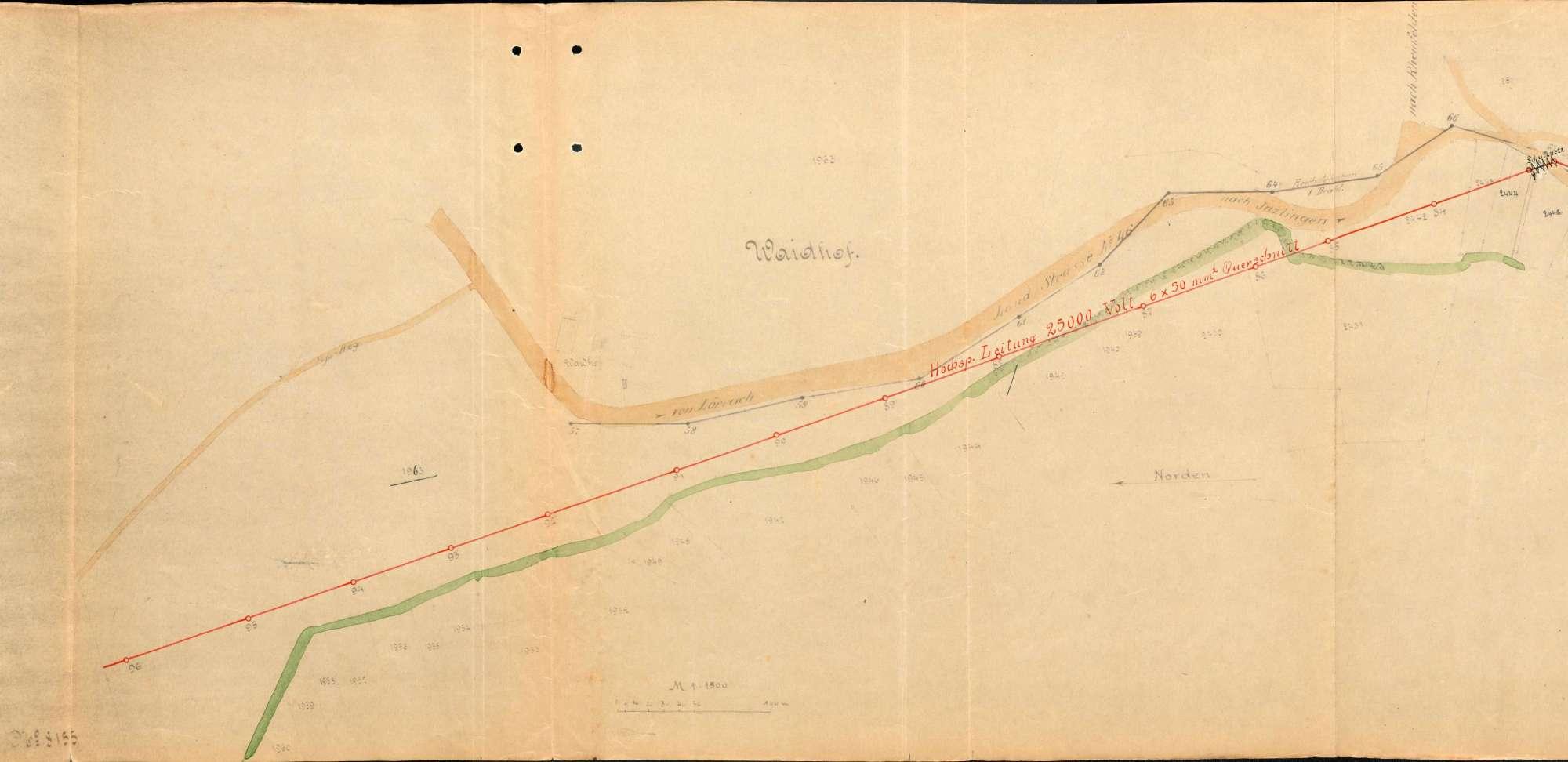 Enteignungsverfahren anläßlich des Baues einer Hochspannungsleitung Rheinfelden - Wyhlen - Lörrach auf der Gemarkung Inzlingen, Bild 1