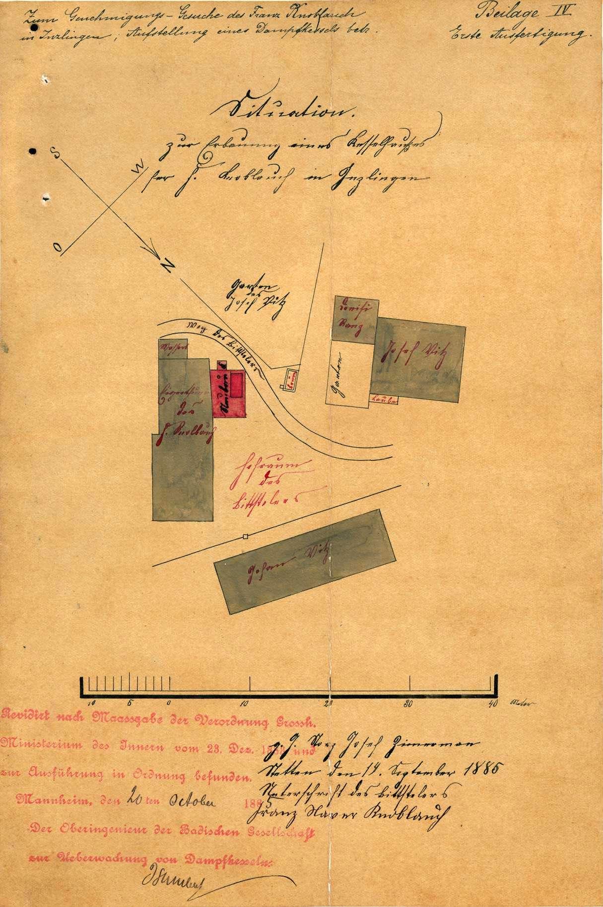 Gesuch des Xaver Knoblauch von Inzlingenum Erlaubnis zur Anlegung eines Dampfkessels, Bild 1