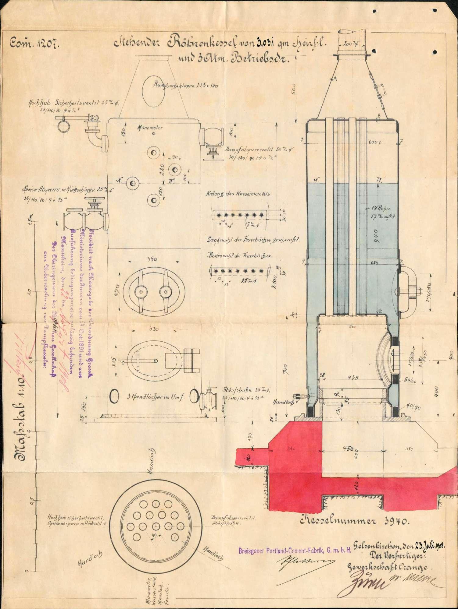 Gesuch der Fa. Breisgauer Portland-Zement-Fabrik GmbH in Kleinkems um Erlaubnis zur Anlegung eines Dampfkessels, Bild 3