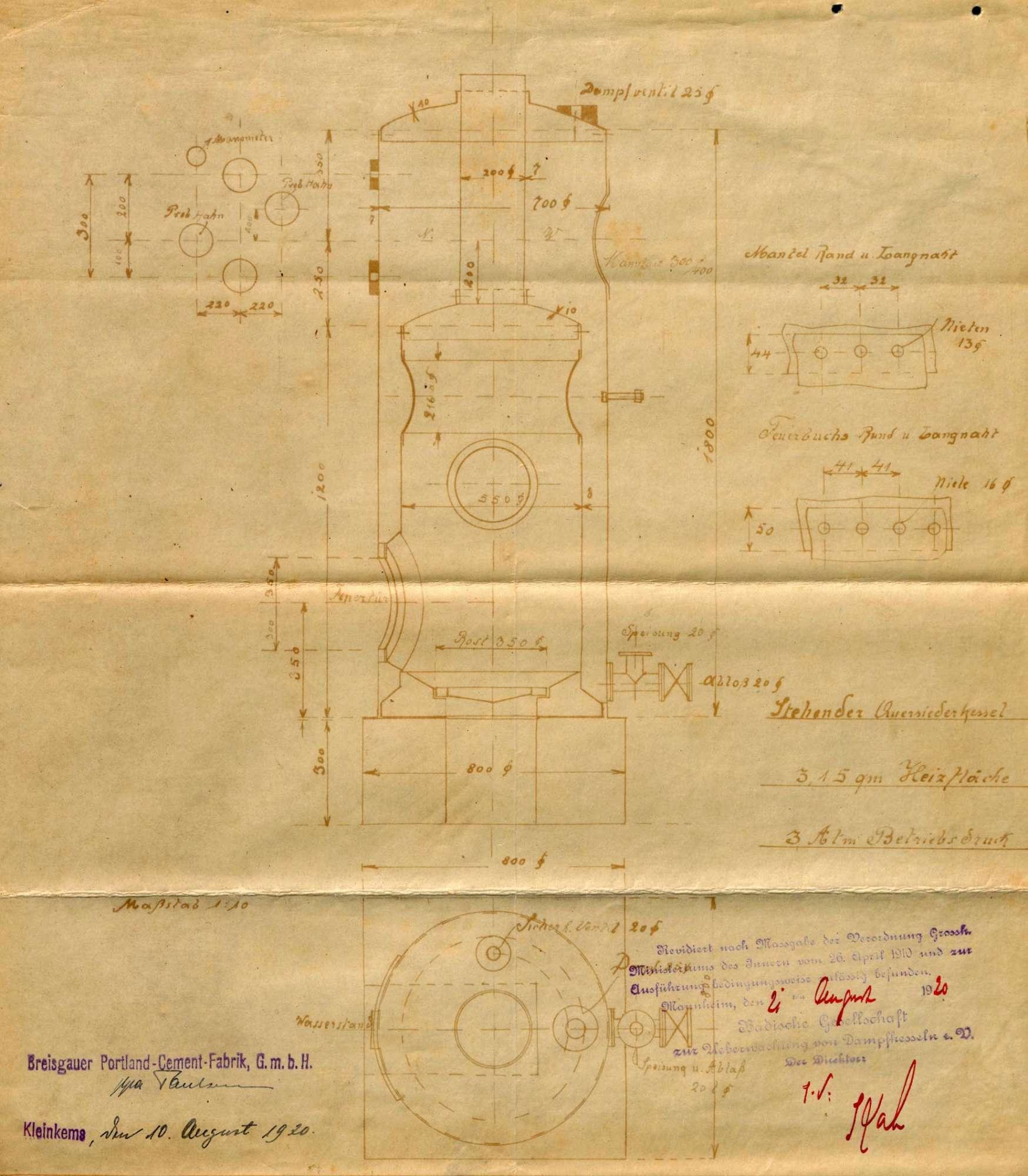 Gesuch der Fa. Breisgauer Portland-Zement-Fabrik GmbH in Kleinkems um Erlaubnis zur Anlegung bzw. Veränderung eines Dampfkessels, Bild 3