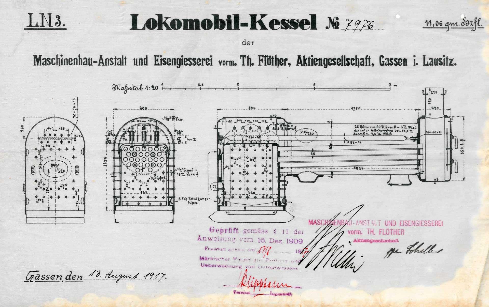 Aufstellung eines Dampfkessels durch Wilhelm Obermeier, Sägewerk in Maulburg; Sperrung des Kessels, Bild 1
