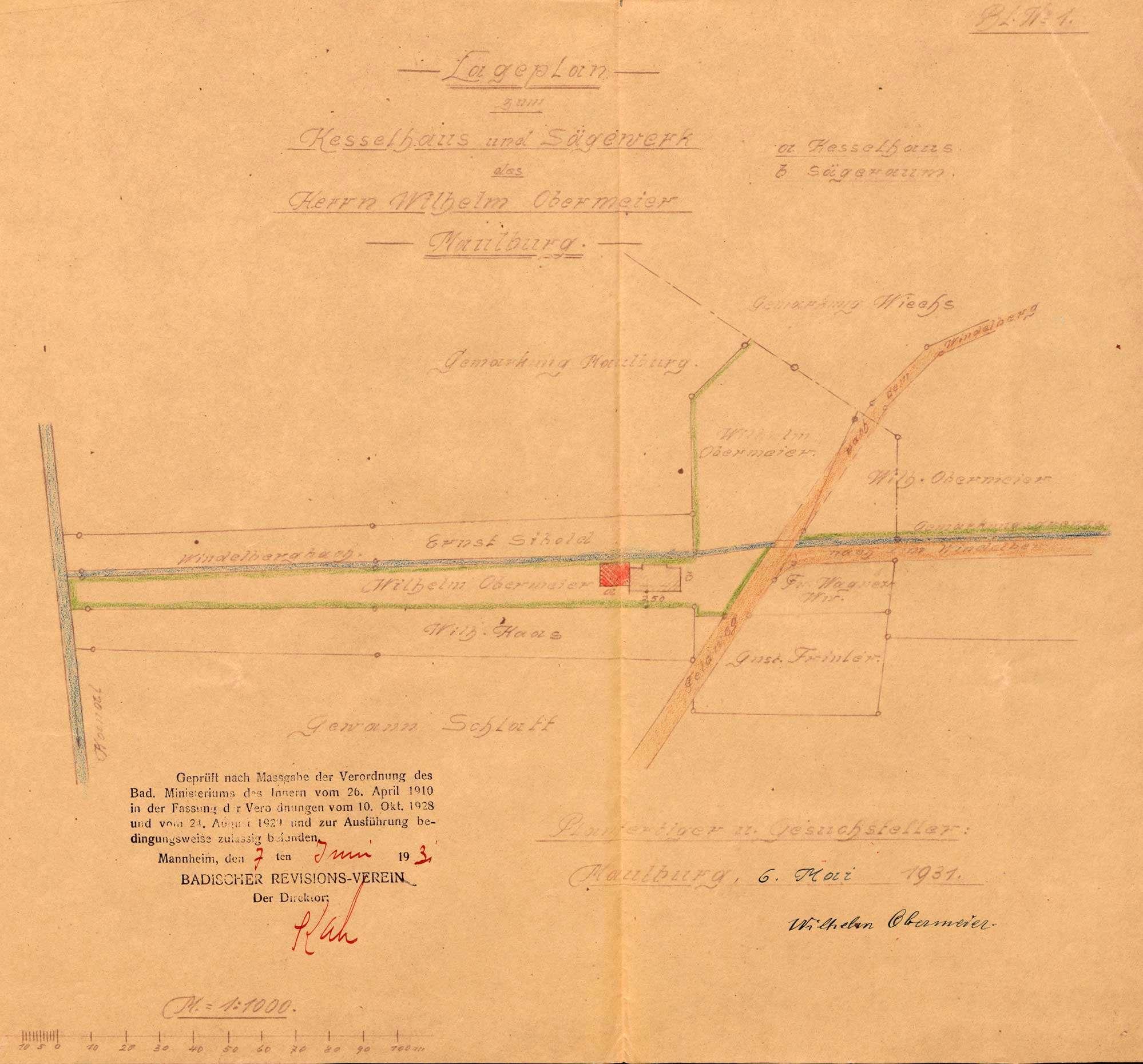 Aufstellung eines Dampfkessels durch Wilhelm Obermeier, Sägewerk in Maulburg; Sperrung des Kessels, Bild 2