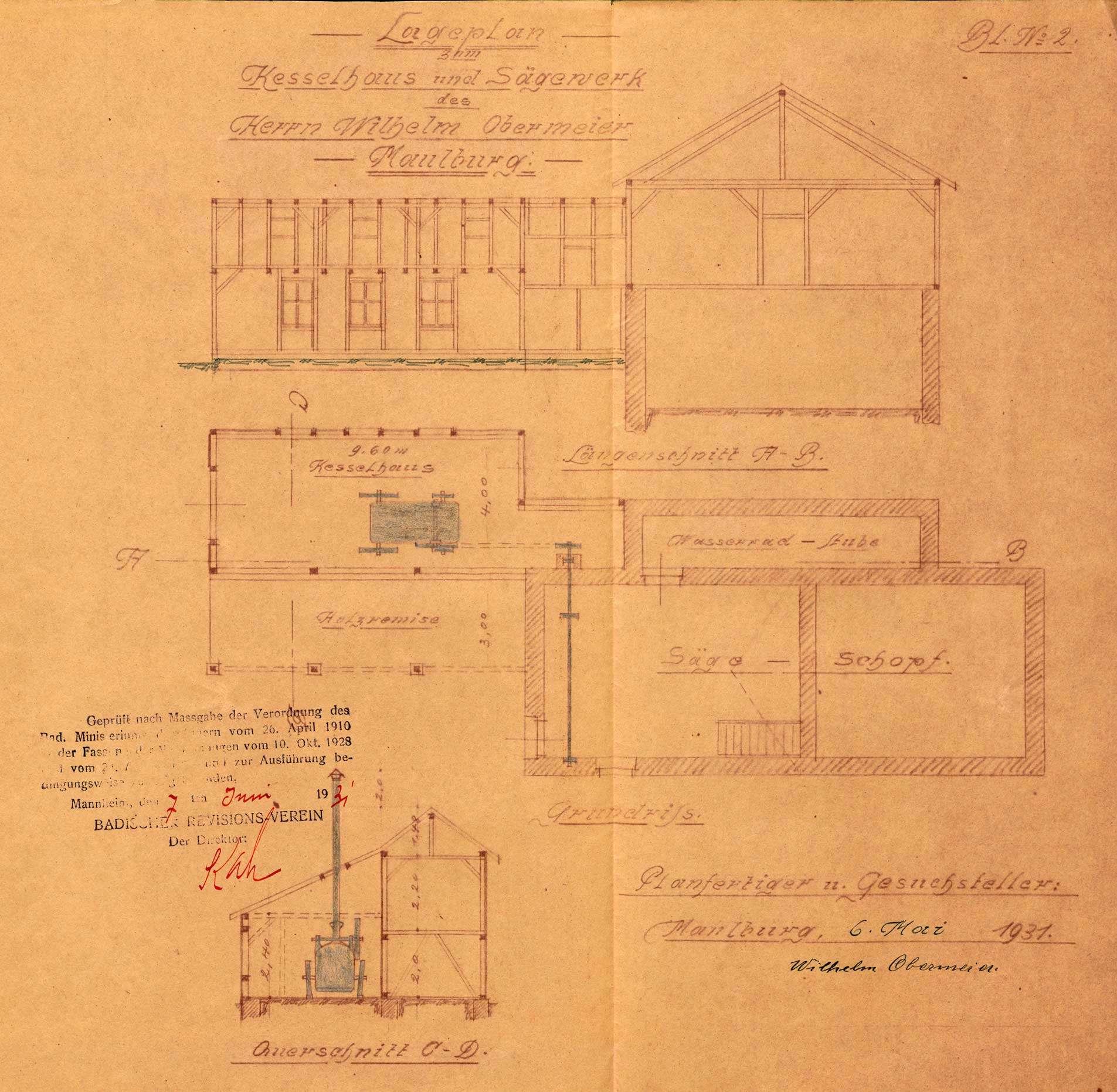 Aufstellung eines Dampfkessels durch Wilhelm Obermeier, Sägewerk in Maulburg; Sperrung des Kessels, Bild 3