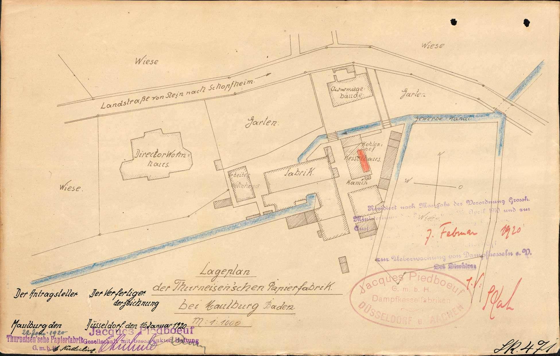 Gesuch der Papierfabrik Thurneisen in Maulburg um Erlaubnis zur Anlegung bzw. Veränderung eines Dampfkessels; Verkauf des Kessels, Bild 1