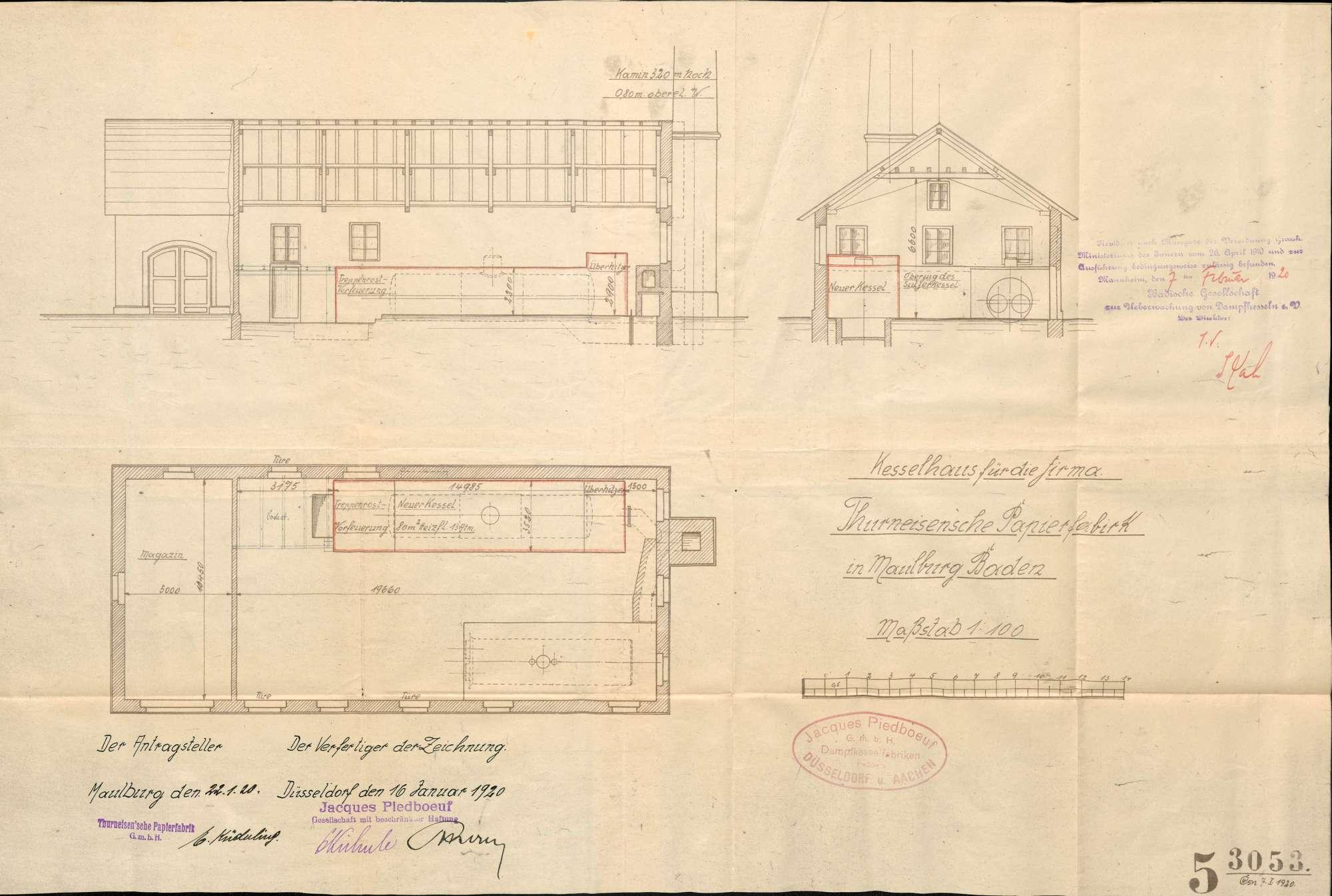 Gesuch der Papierfabrik Thurneisen in Maulburg um Erlaubnis zur Anlegung bzw. Veränderung eines Dampfkessels; Verkauf des Kessels, Bild 2
