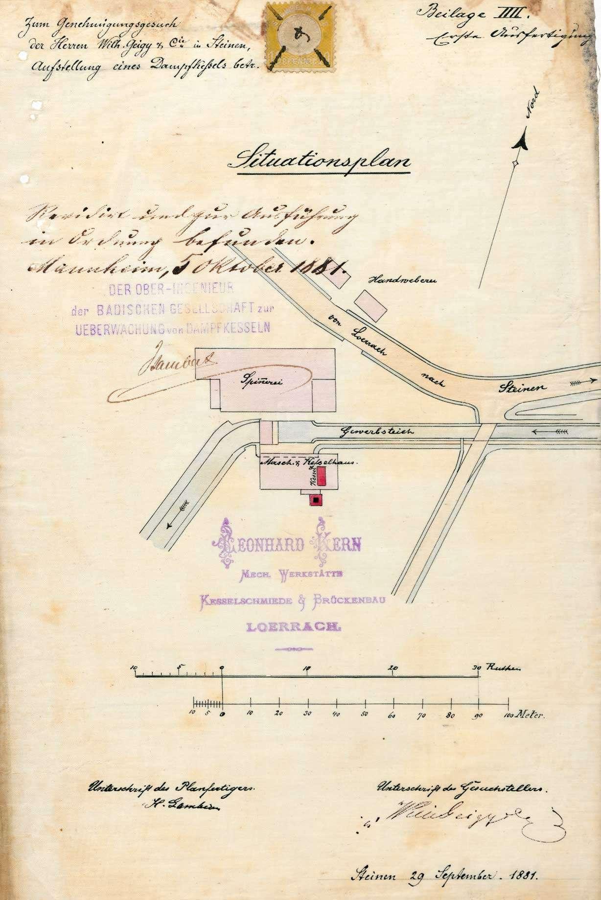 Gesuch der Fa. Wilhelm Geigy & Cie (später: Spinnerei und Weberei Steinen AG) um Genehmigung zur Anlegung eines Dampfkessels, Bild 1