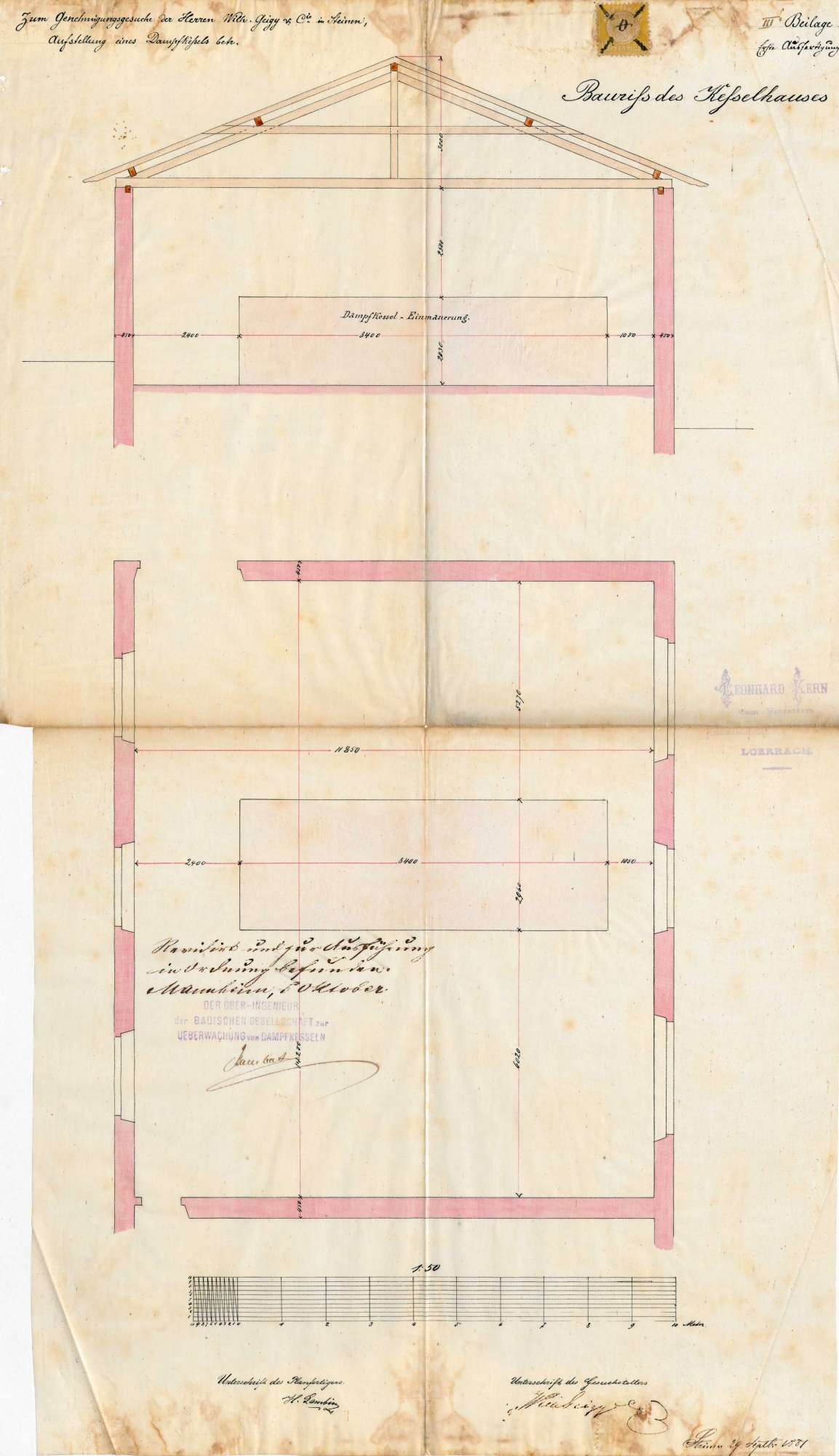 Gesuch der Fa. Wilhelm Geigy & Cie (später: Spinnerei und Weberei Steinen AG) um Genehmigung zur Anlegung eines Dampfkessels, Bild 3