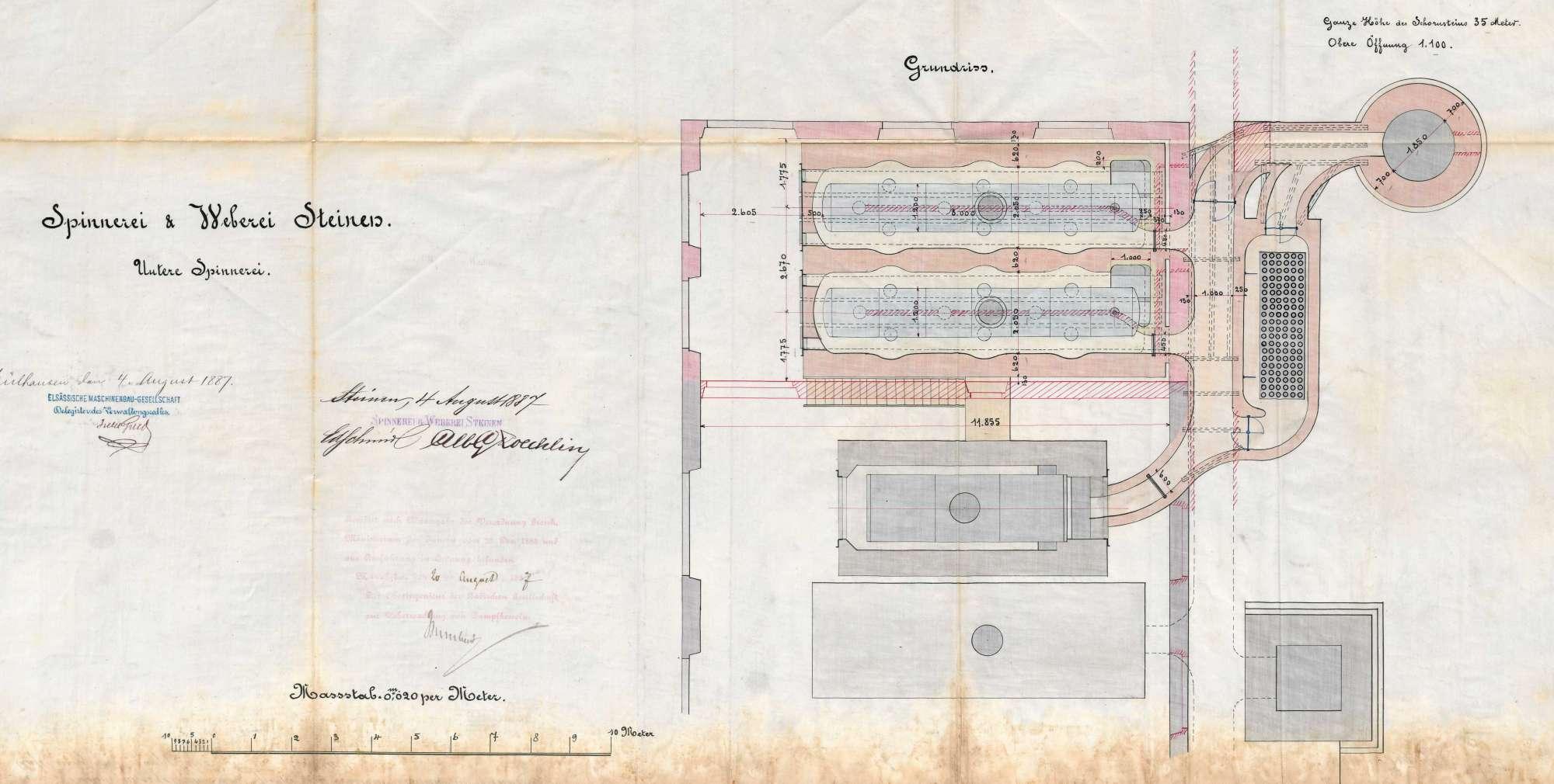 Gesuch der Spinnerei und Weberei Steinen AG um Erlaubnis zur Anlegung zweier Dampfkessel, Bild 3