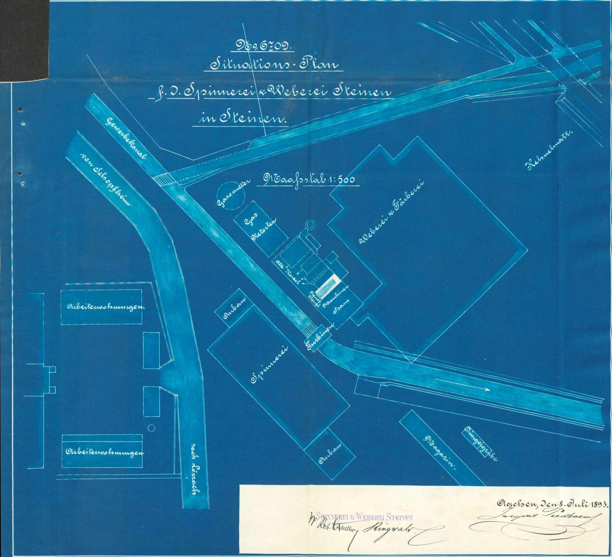 Gesuch der Spinnerei und Weberei Steinen AG um Erlaubnis zur Anlegung eines Dampfkessels, Bild 1