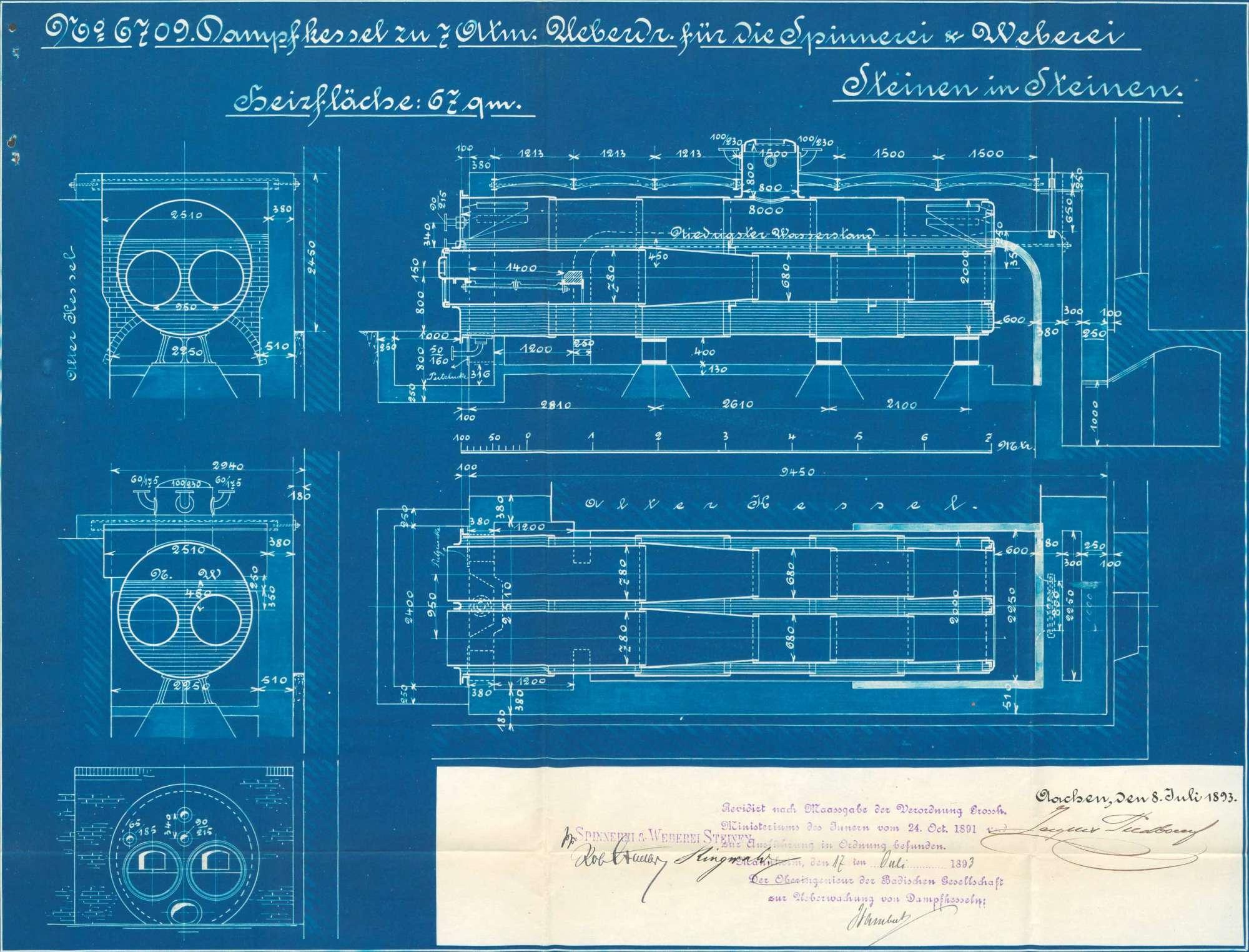Gesuch der Spinnerei und Weberei Steinen AG um Erlaubnis zur Anlegung eines Dampfkessels, Bild 3