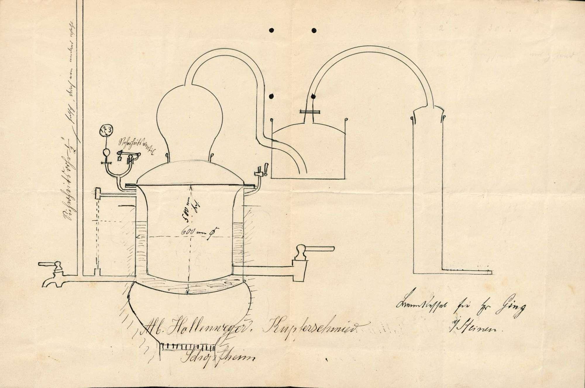 Gesuch der Küferei Karl Ging-Sturm um Erlaubnis zur Anlegung eines Brennkessels, Bild 1