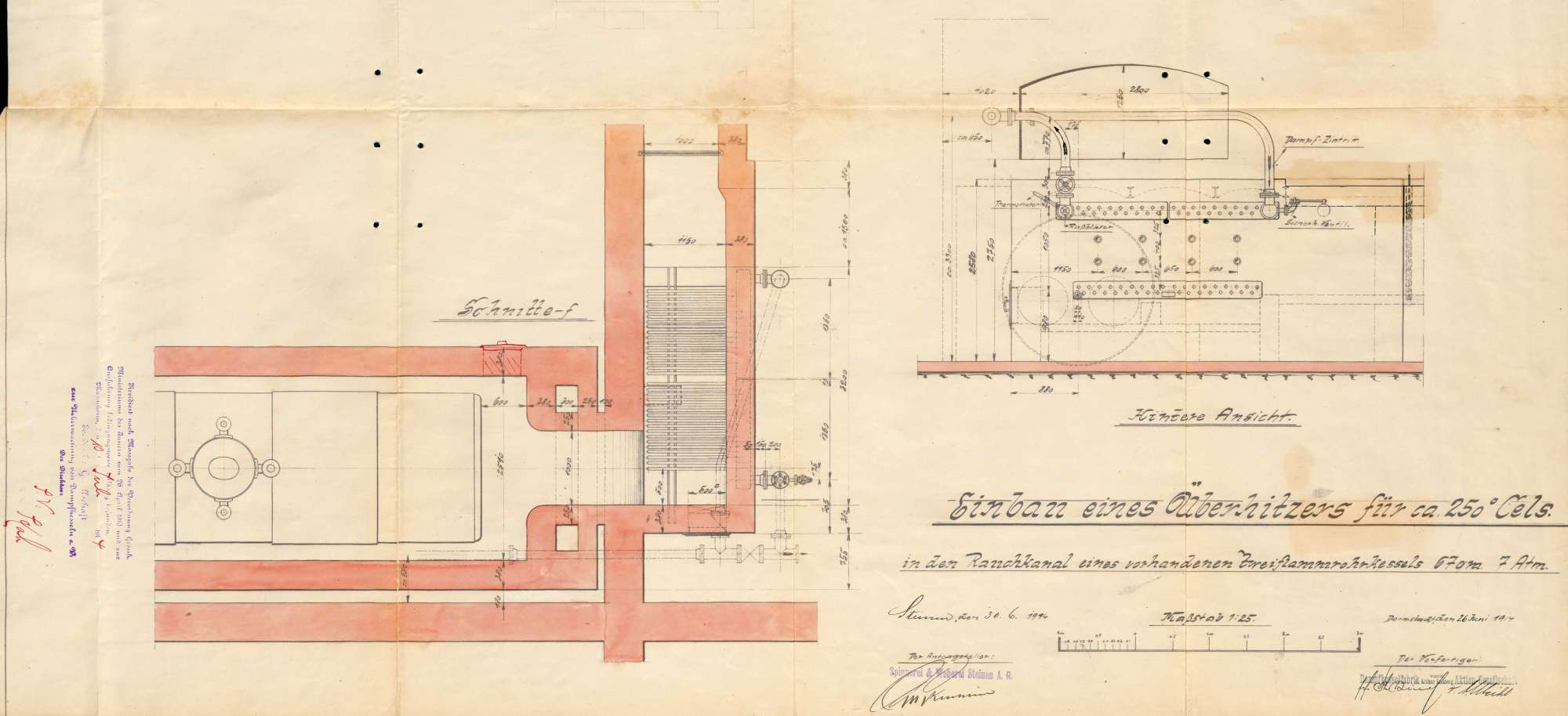 Gesuch der Fa. Spinnerei und Weberei Steinen AG um Erlaubnis zur Anlegung eines Dampfkessels und zum Einbau bzw. zur Verlagerung eines Überhitzers in einem Dampfkessel, Bild 2