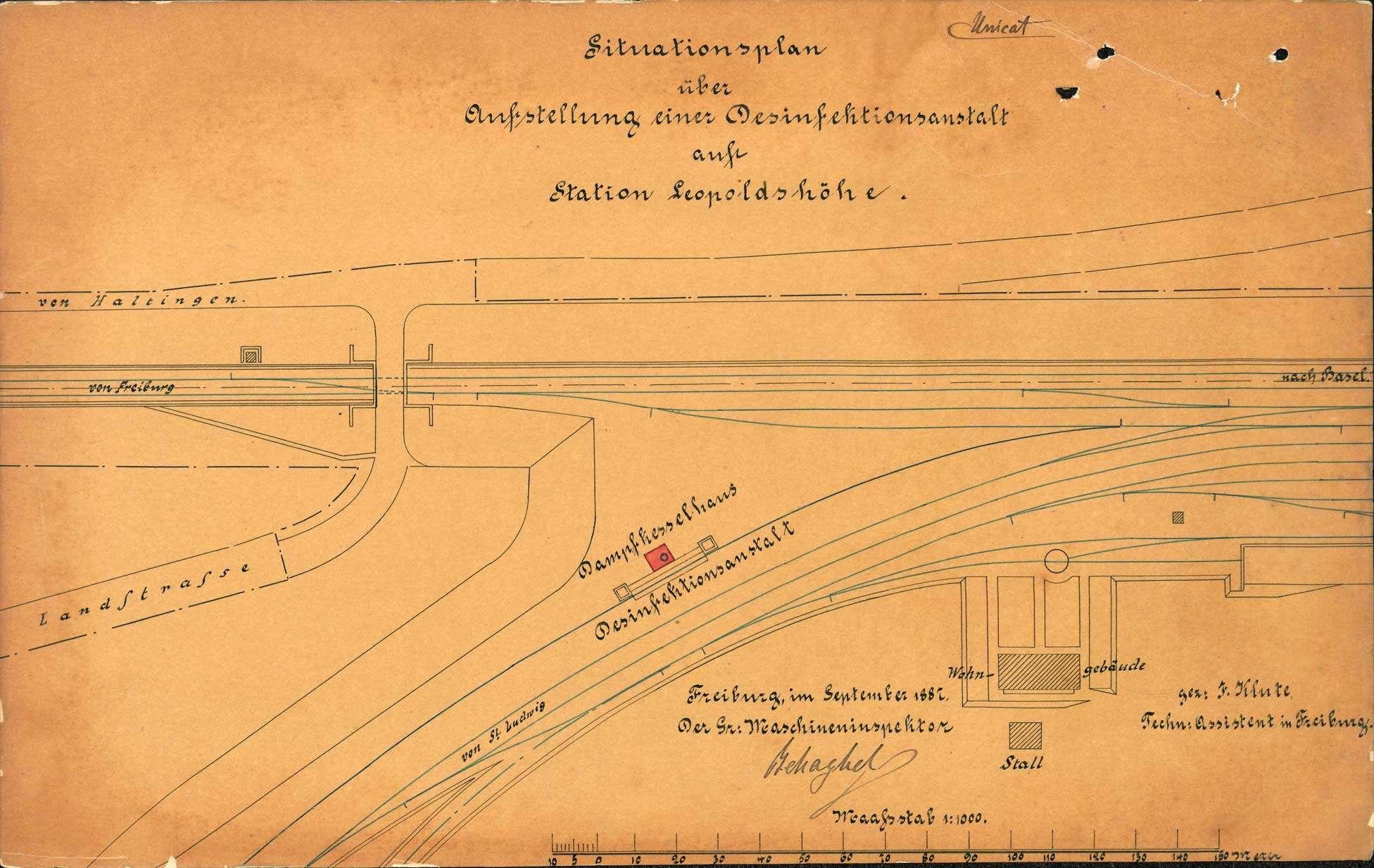 Gesuch der Maschineninspektion Freiburg um Genehmigung zur Aufstellung eines Dampfkessels auf dem Bahnhof Leopoldshöhe; Revision und Stilllegung des Kessels, Bild 1