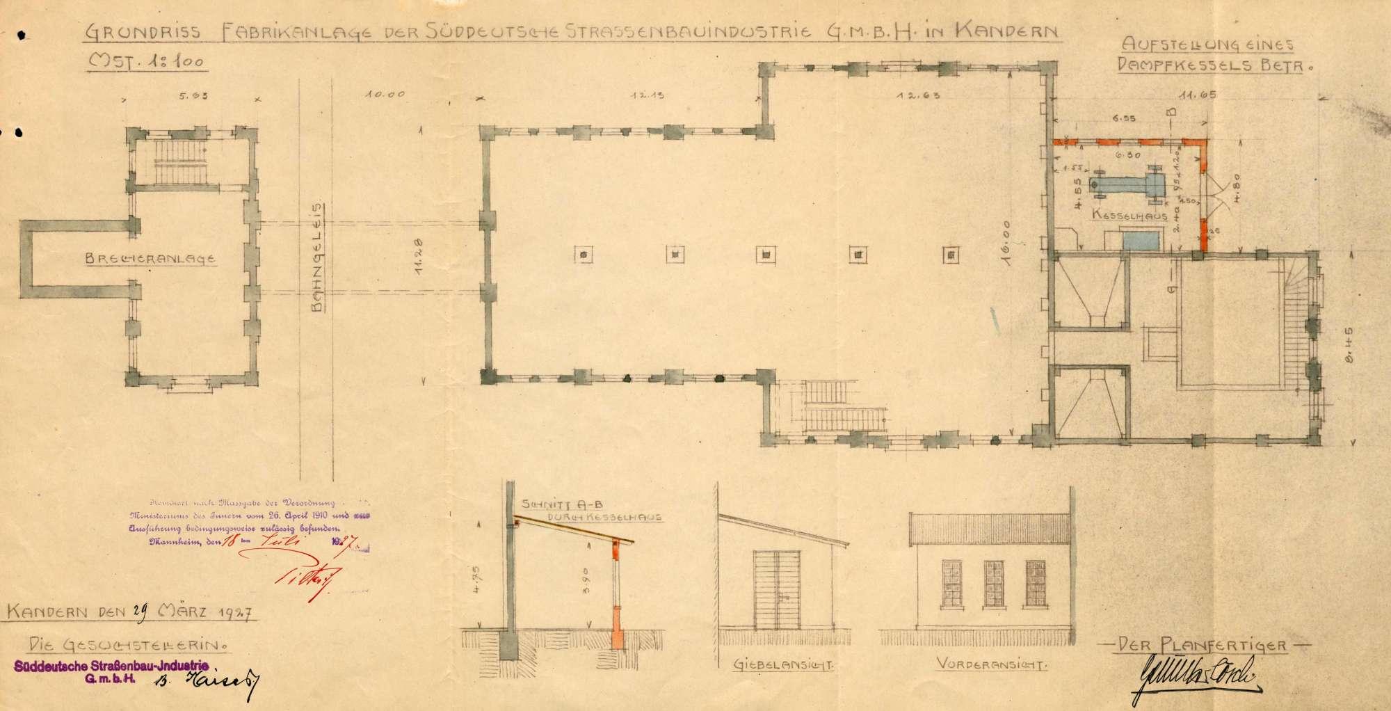 Gesuch der Süddeutschen Straßenbau-Industrie GmbH, Kandern, um Erlaubnis zur Anlegung eines Dampfkessels in Wollbach, Bild 2