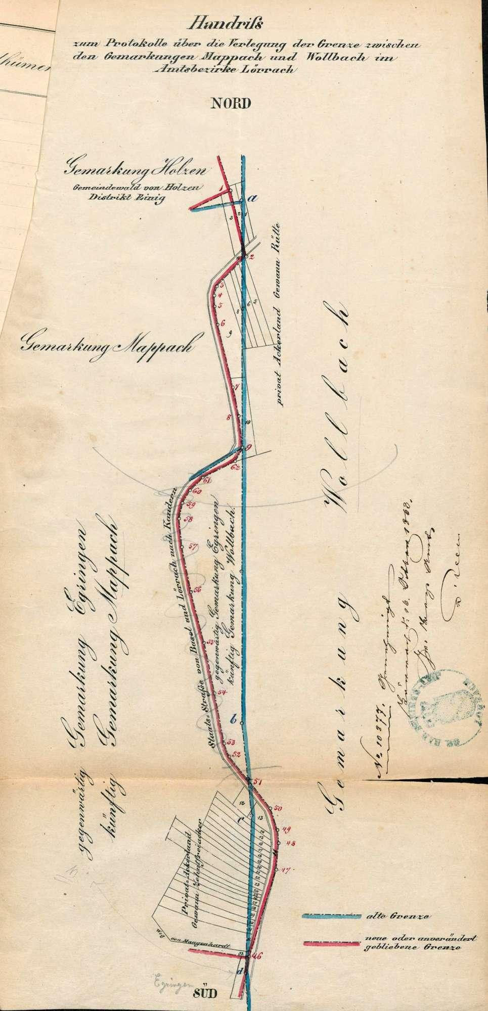 Verlegung der Gemarkungsgrenzen zwischen der Gemeinde Wollbach und den Gemeinden Egringen, Holzen, Mappach und Wittlingen, Bild 3