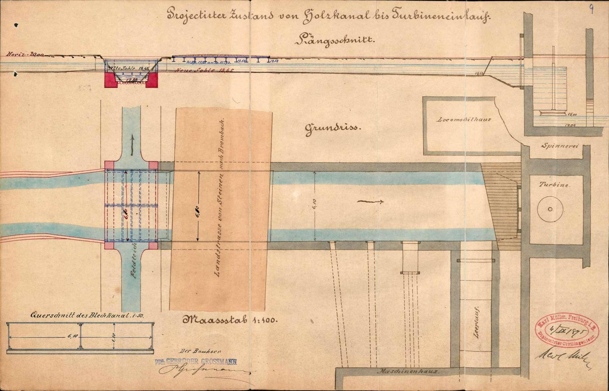 Umbau der Straßenbrücke oberhalb der Fabrik der Gebrüder Großmann auf Gemarkung Brombach; Anlage eines eisernen Kanals über dem Lörracher Feldteich, Bild 2