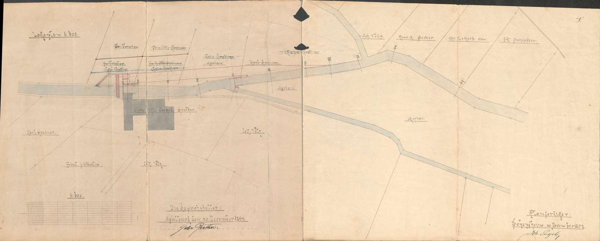 Veränderung des Maulburg-Höllsteiner Gewerbekanals bei der unteren Gipsmühle der Gebrüder Grether und Bau eines neuen Kanals, Bild 1