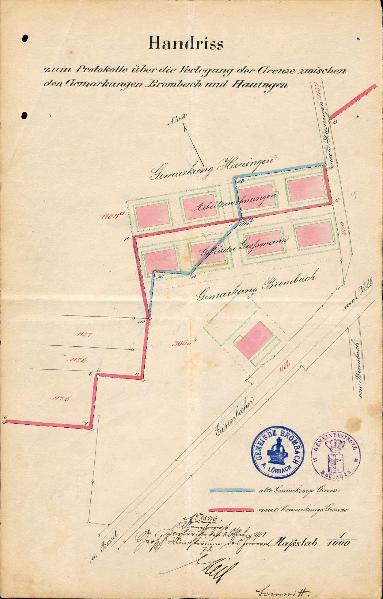 Verlegung der Gemarkungsgrenzen zwischen den Gemeinden Brombach und Hauingen, Bild 1