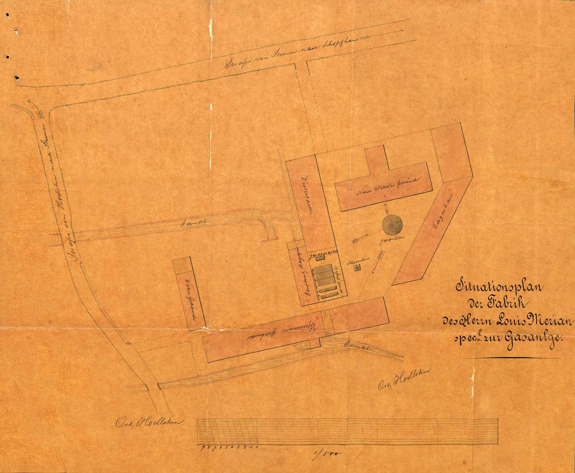 Anlage einer Gasfabrik in der Maschinenfabrik des Louis Merian in Höllstein, Bild 1