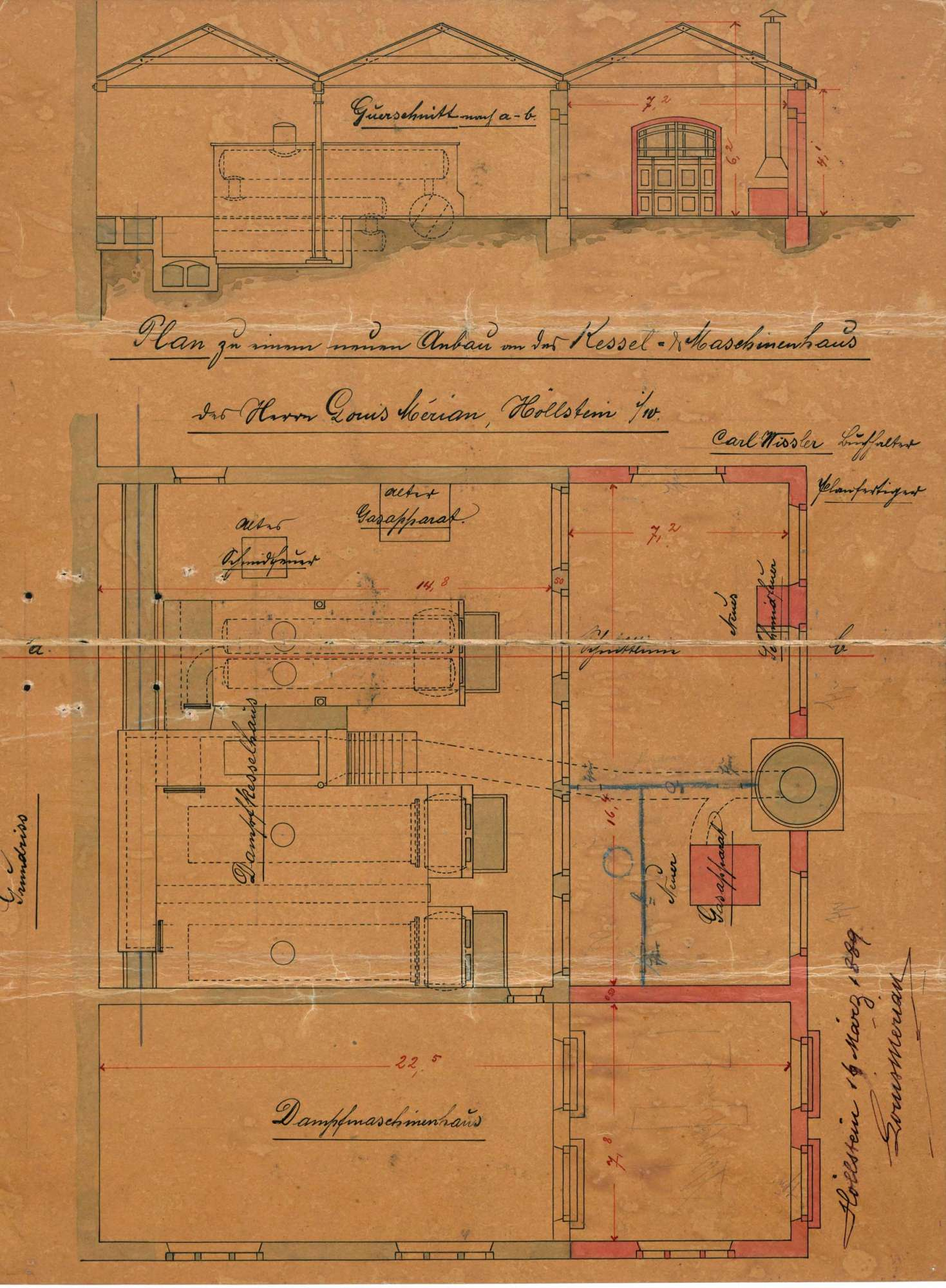 Verlegung der in der Maschinenfabrik des Louis Merian in Höllstein bestehenden Gasfabrik, Bild 1