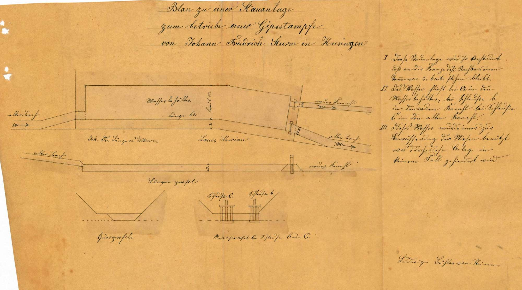 Gesuch des Johann Friedrich Sturm von Hüsingen um Genehmigung zur Errichtung eines Gipsofens, einer Gipsstampfe sowie einer Kanalanlage zum Betrieb der Stampfe, Bild 1