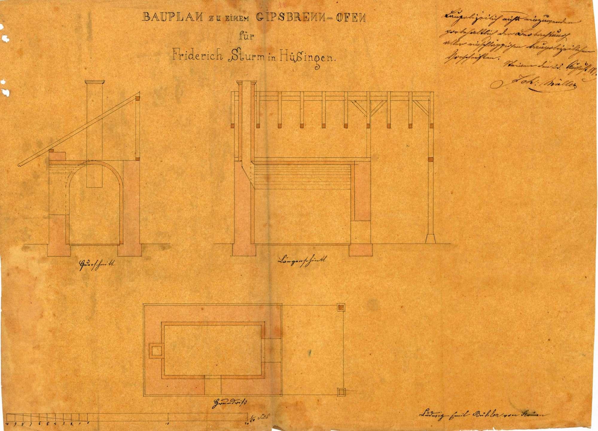 Gesuch des Johann Friedrich Sturm von Hüsingen um Genehmigung zur Errichtung eines Gipsofens, einer Gipsstampfe sowie einer Kanalanlage zum Betrieb der Stampfe, Bild 2