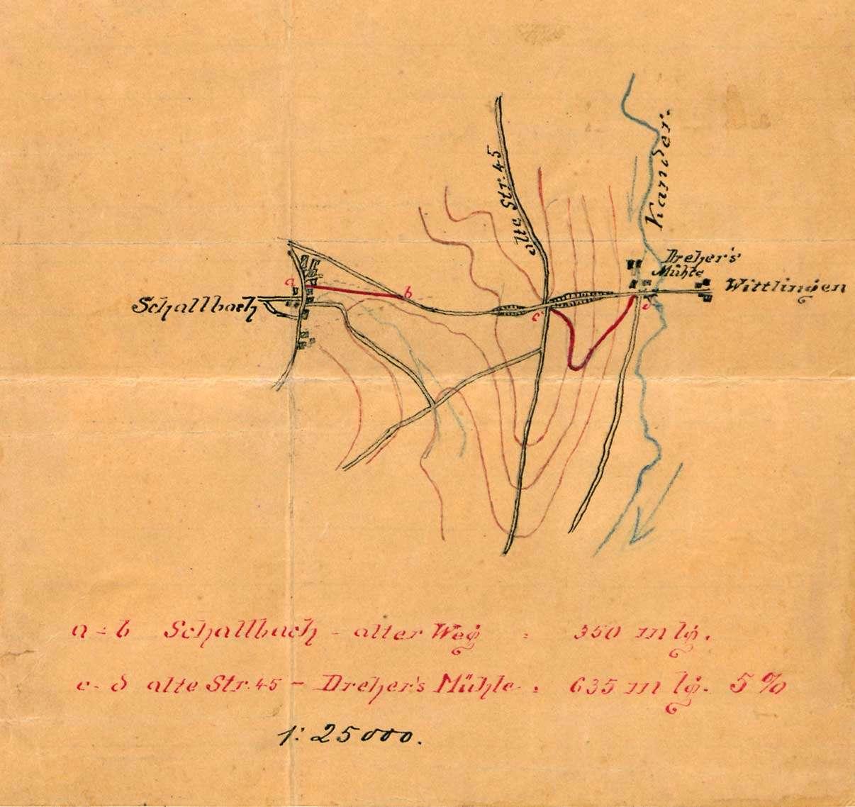 Bau eines Weges von Schallbach zur Landstraße und von Verbindungswegen von Schallbach nach Wollbach und Wittlingen, Bild 1