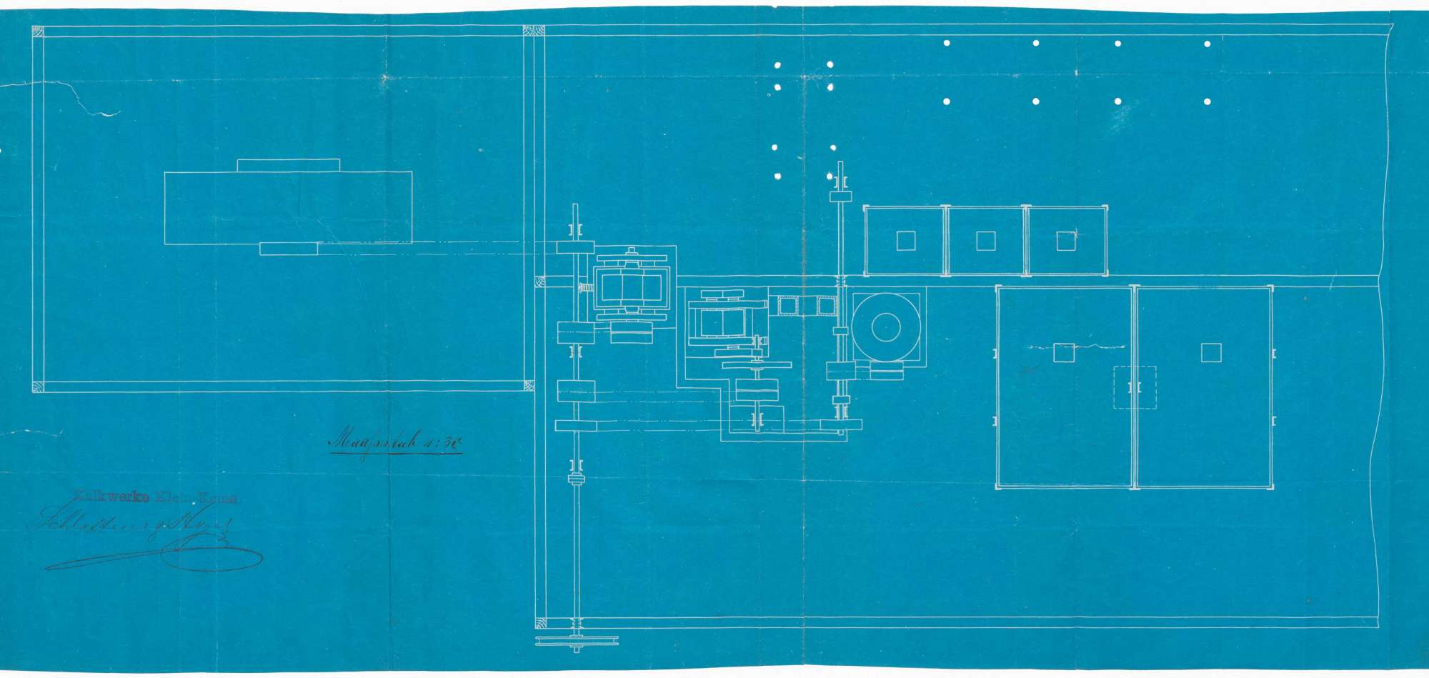 Errichtung einer mechanischen Kalkzerkleinerungsanlage-Kalkmüllerei und Terrazzomahlanlage durch die Kalkwerke Schlatterer & Hoyer, Kleinkems, Bild 1