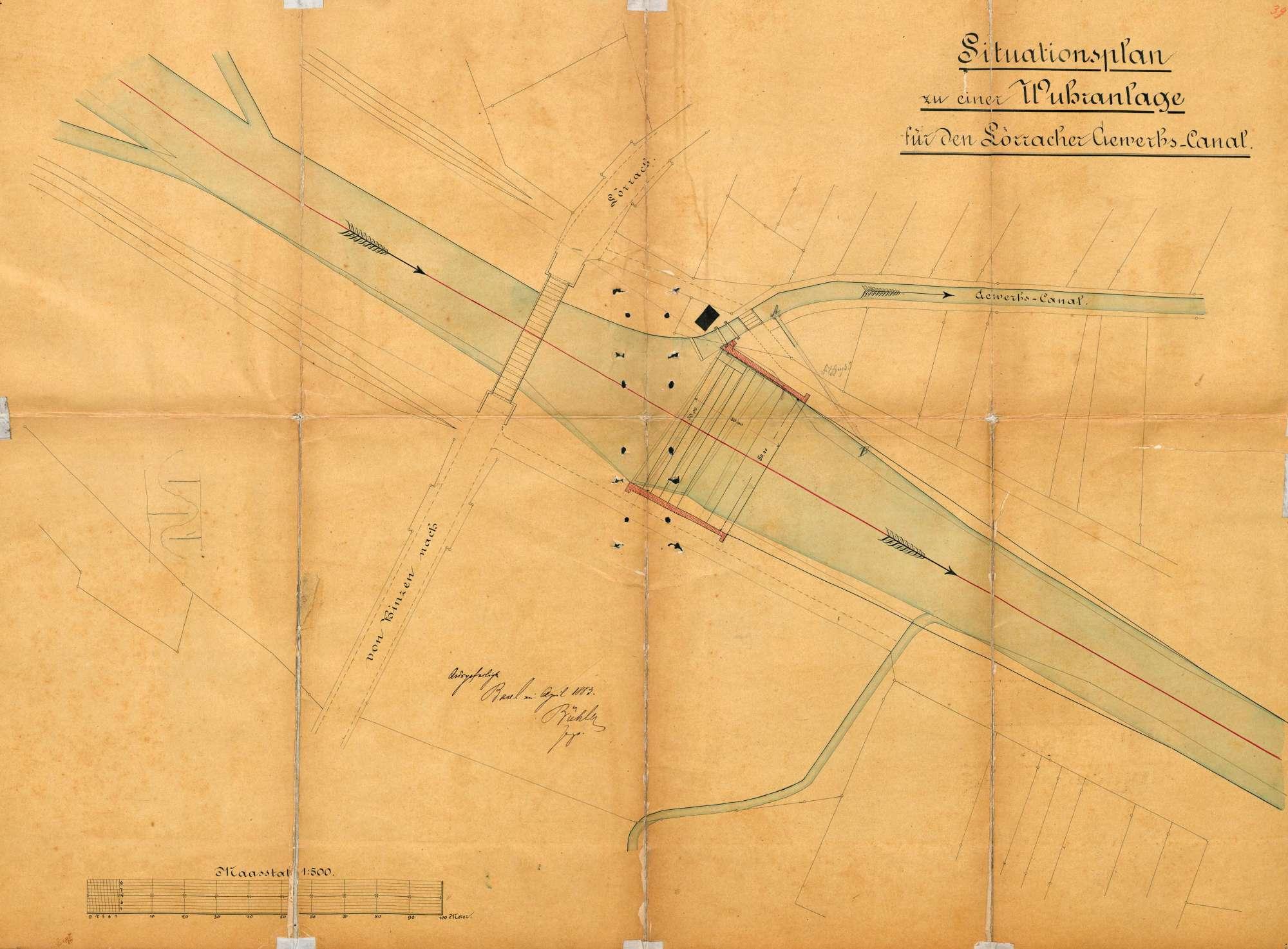 Wiederherstellung des im Dezember 1882 durch Hochwasser zerstörten Gewerbewuhrs bei der Wiesebrücke in Tumringen, Bild 1