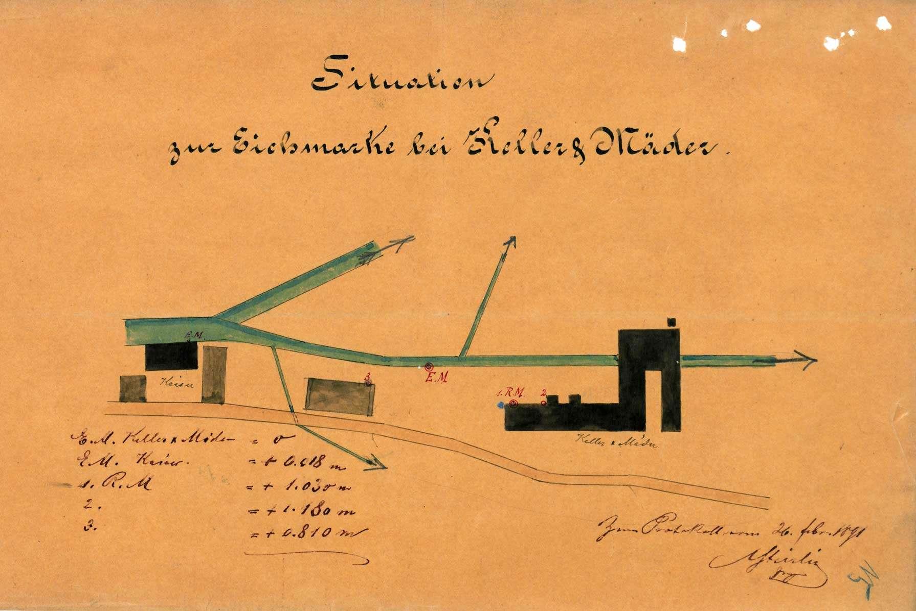 Anbringung einer neuen Eichmarke im Kanal der Fa. Keller & Mäder in Rötteln, Bild 2