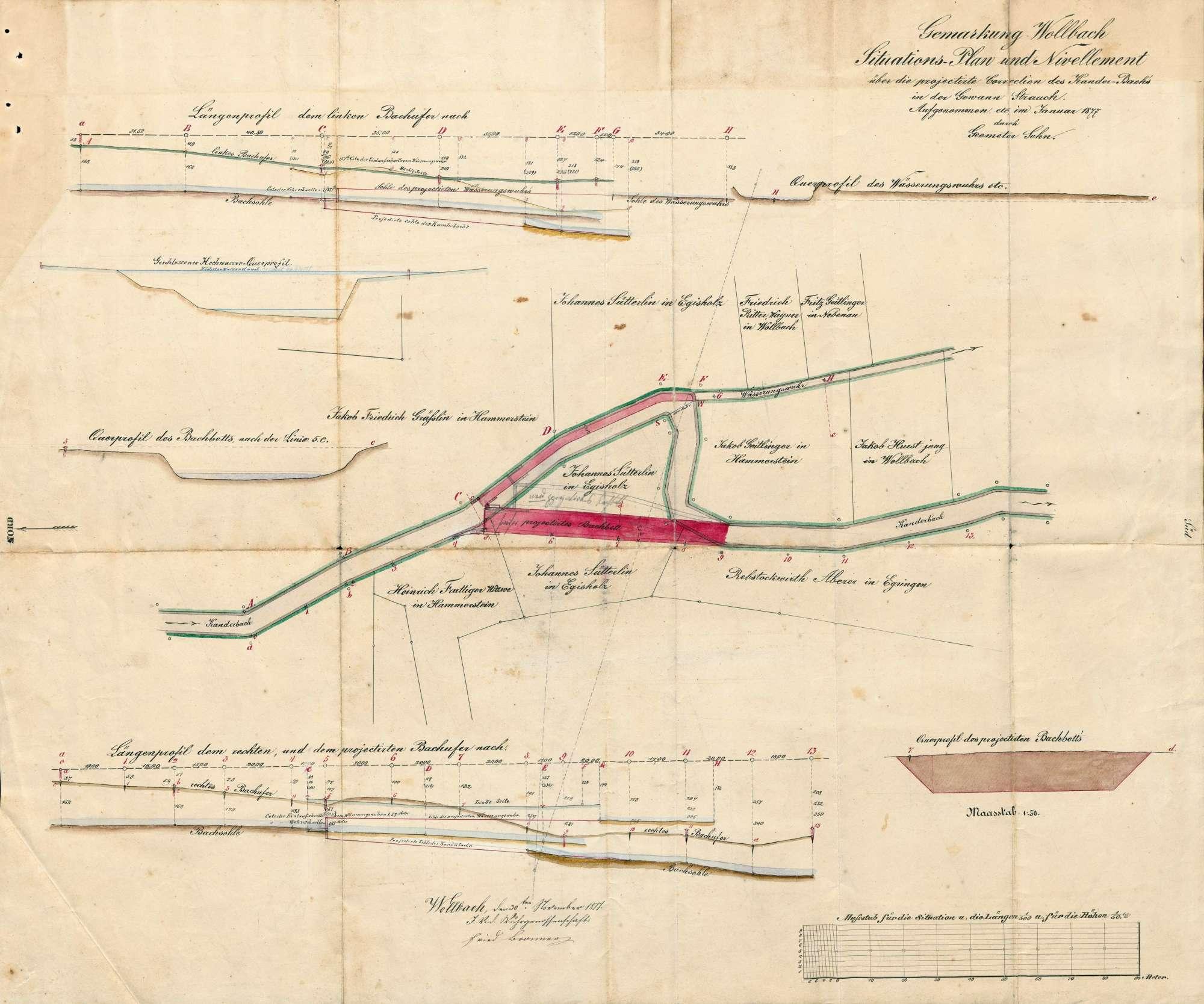 Bau eines neuen Wuhrs in der Kander bei Wollbach; Verlegung des Bachbetts, Bild 2