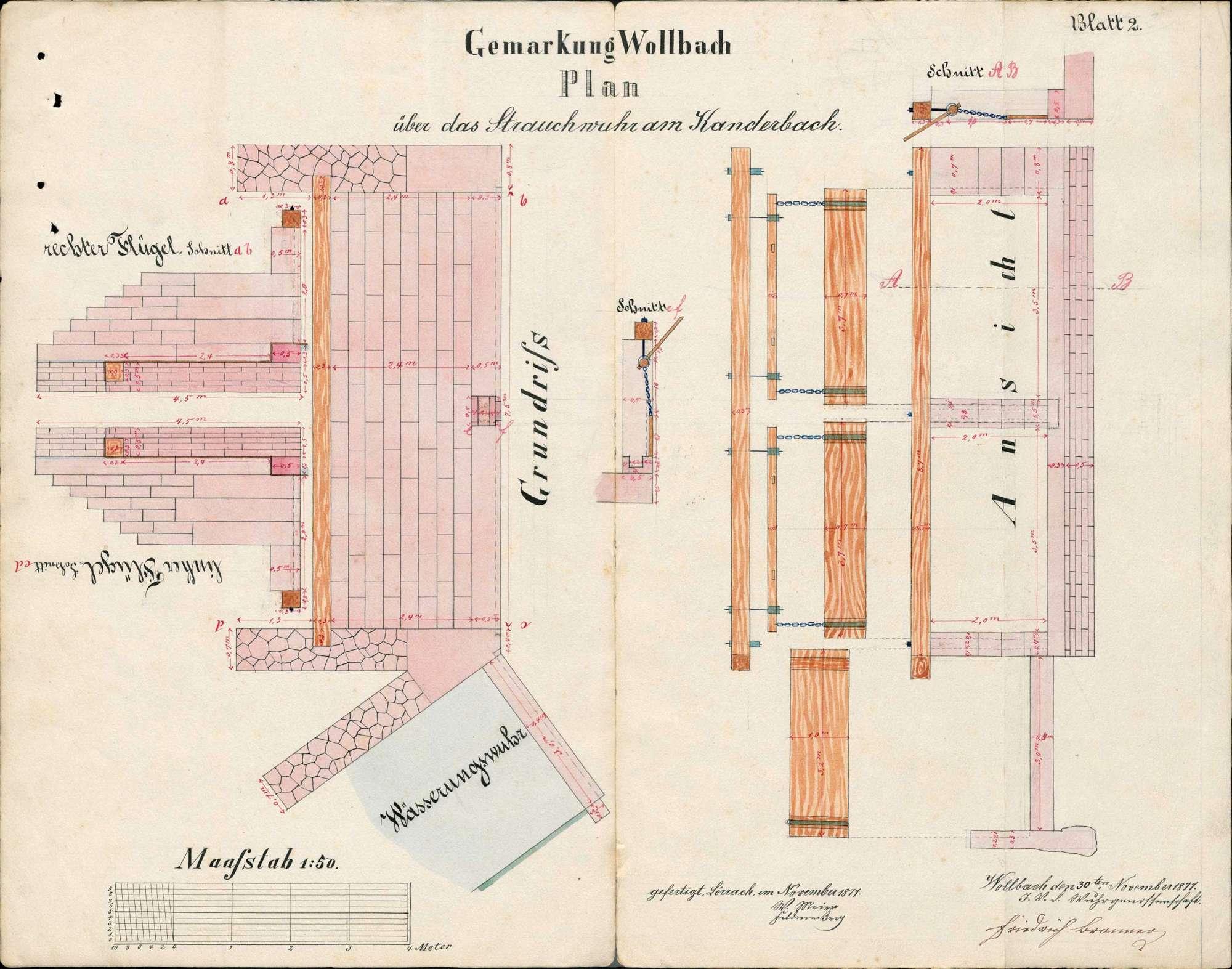 Bau eines neuen Wuhrs in der Kander bei Wollbach; Verlegung des Bachbetts, Bild 3