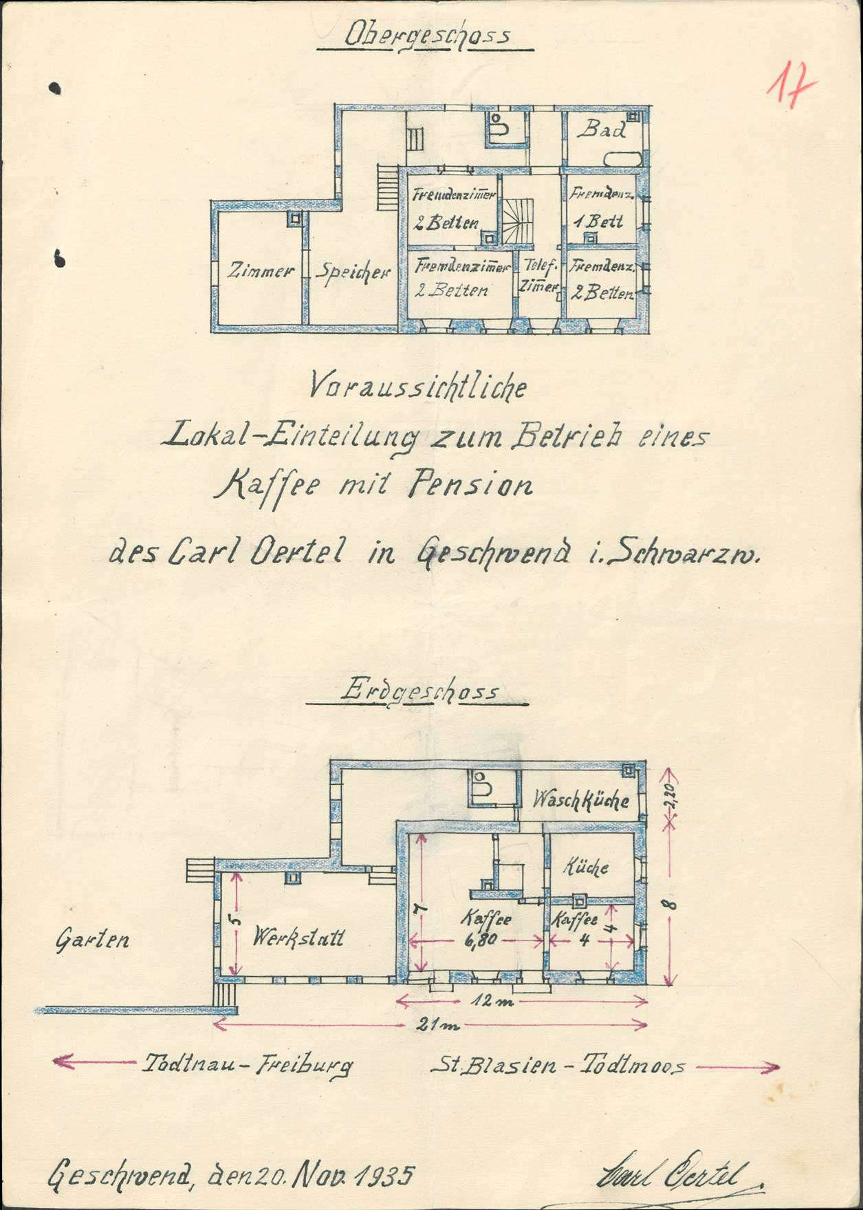 Verleihung der Wirtschaftskonzession für die Pension und Kaffeewirtschaft Karl Oertel in Geschwend, Bild 1