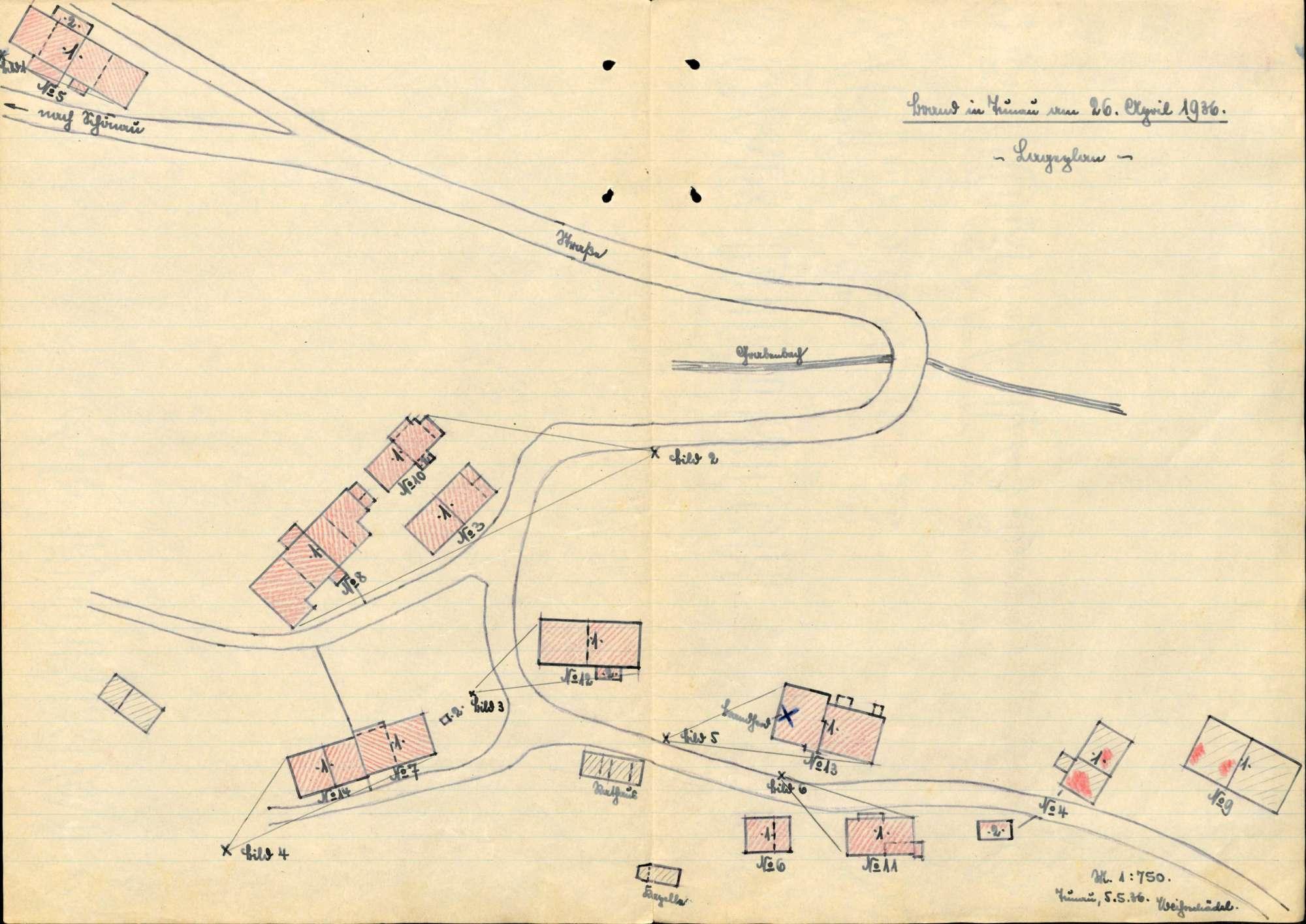 Arbeit des Hilfswerks Tunau nach dem Brand in Tunau vom 26.April 1936; Wiederaufbau des abgebrannten Ortes, Bild 1