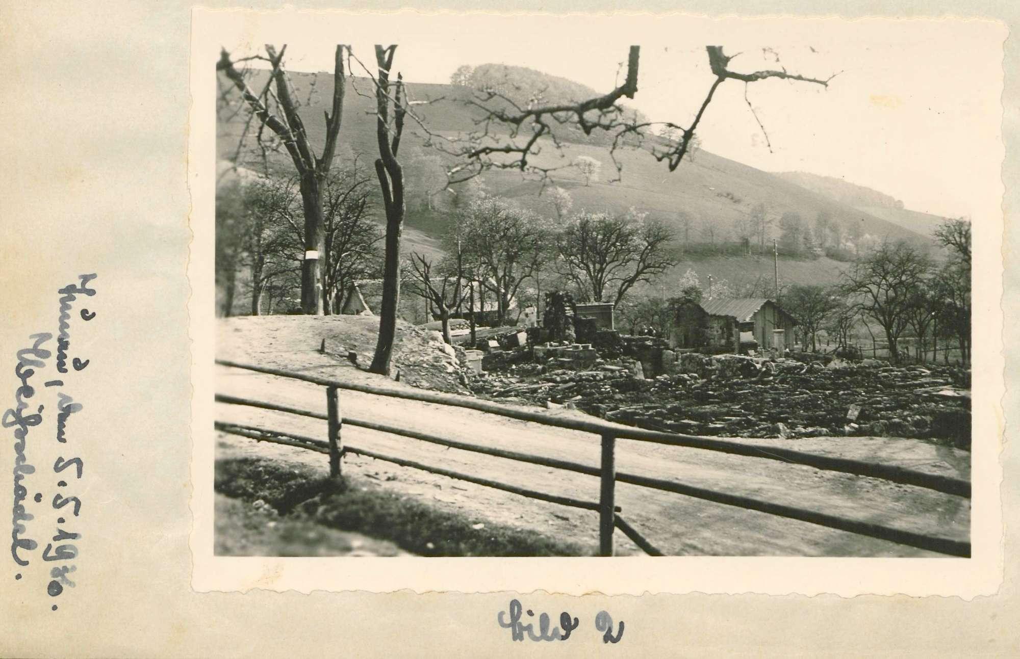 Arbeit des Hilfswerks Tunau nach dem Brand in Tunau vom 26.April 1936; Wiederaufbau des abgebrannten Ortes, Bild 3