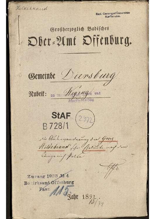 Auswanderung des Georg Hildebrand mit seiner Ehefrau Katharina Hildebrand, geb. Kopp nach Polen, Bild 1