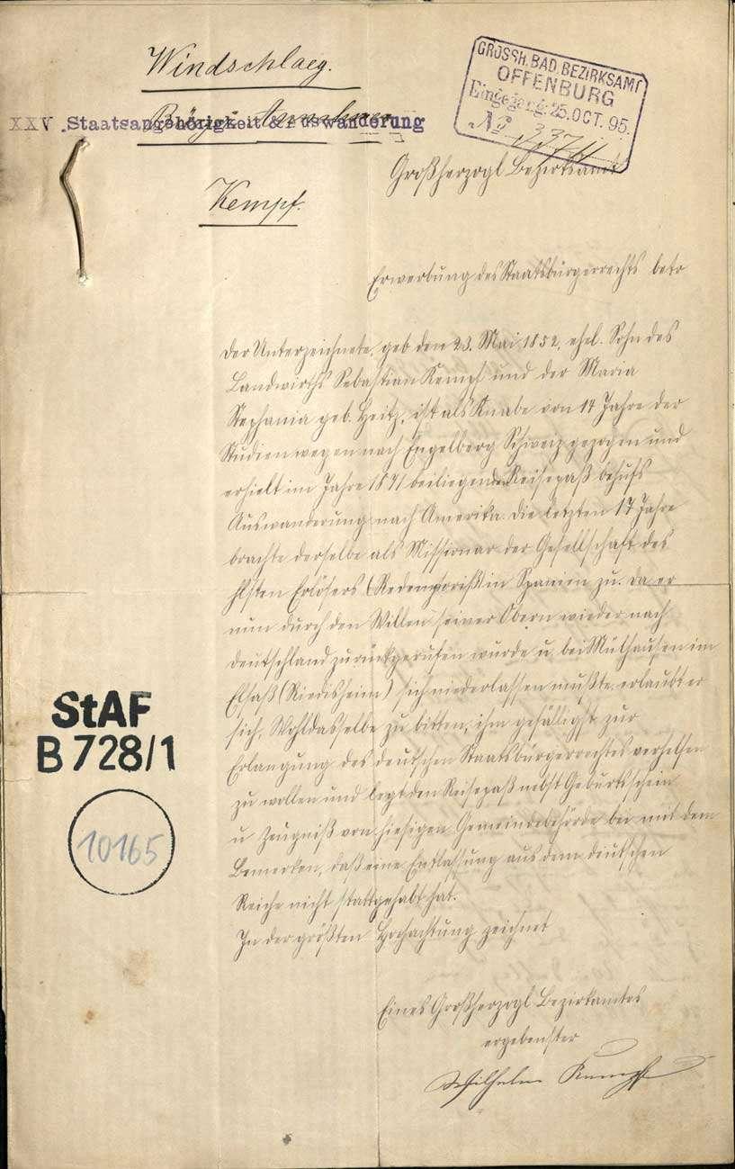 Gesuch des Missionars Wilhelm Kempf um Wiedererhaltung der deutschen Staatsbürgerrechts, Bild 1