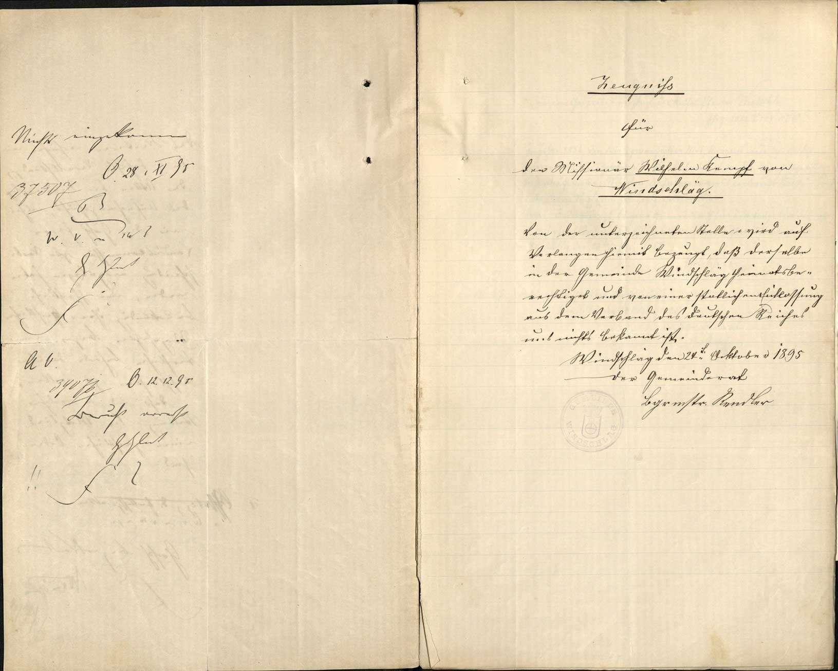 Gesuch des Missionars Wilhelm Kempf um Wiedererhaltung der deutschen Staatsbürgerrechts, Bild 3