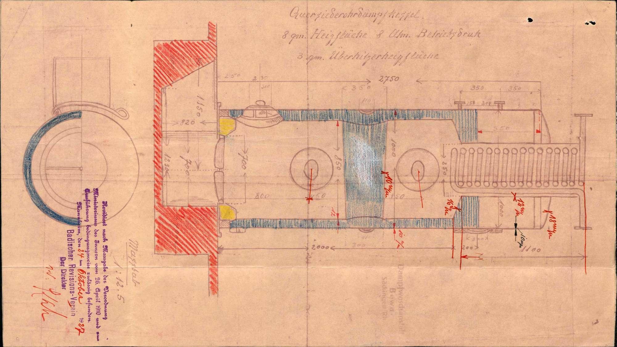 Dampfkessel der Firma Adolf Kähny in Säckingen, Bild 1