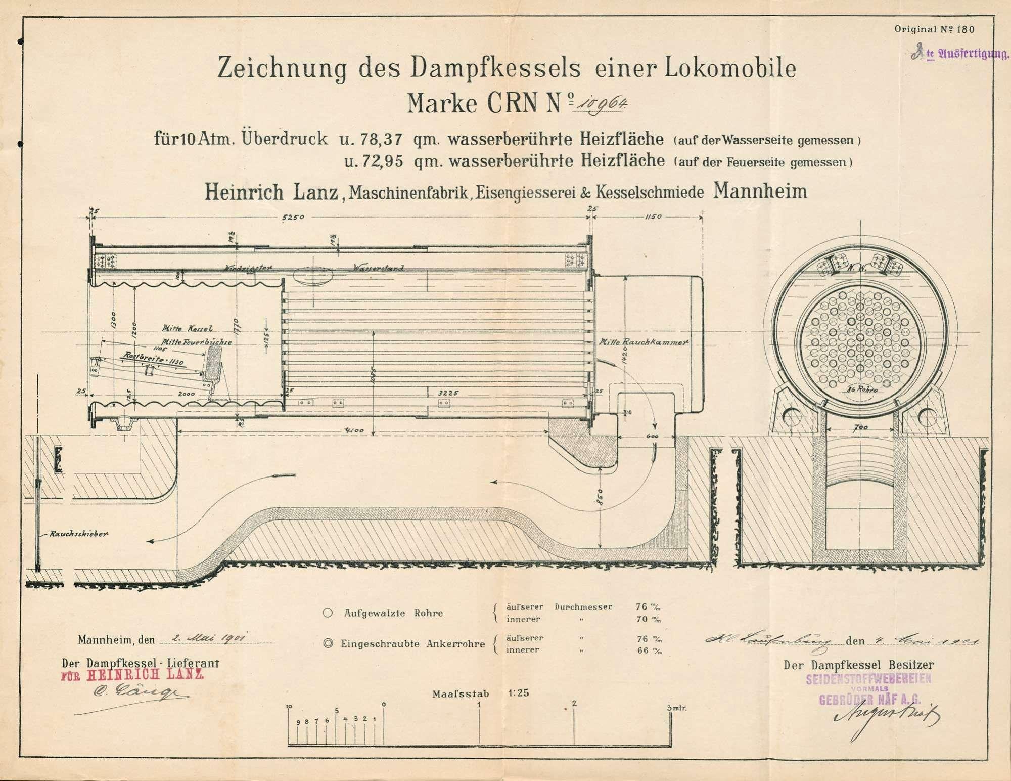 Dampfkessel der Firma Seidenstoffweberei (vormals Gebrüder Näf AG) in Kleinlaufenburg, Bild 1