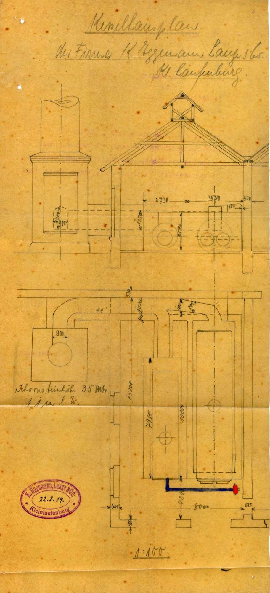 Dampfkessel der Firma Eggemann, Lange & Co. in Kleinlaufenburg, Bild 1