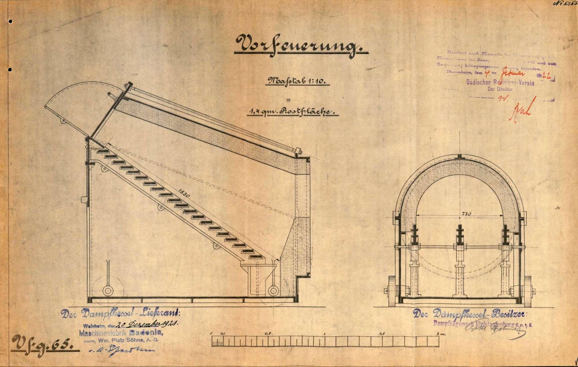 Dampfkessel der Firma Dampfsägewerk Kleinlaufenburg GmbH in Kleinlaufenburg bzw. Laufenburg (Baden), Bild 3