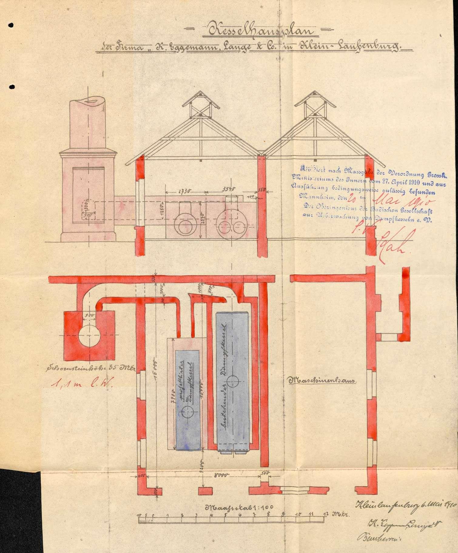 Dampfkessel der Firma Eggemann, Lange & Co. in Kleinlaufenburg bzw. Laufenburg (Baden), Bild 2