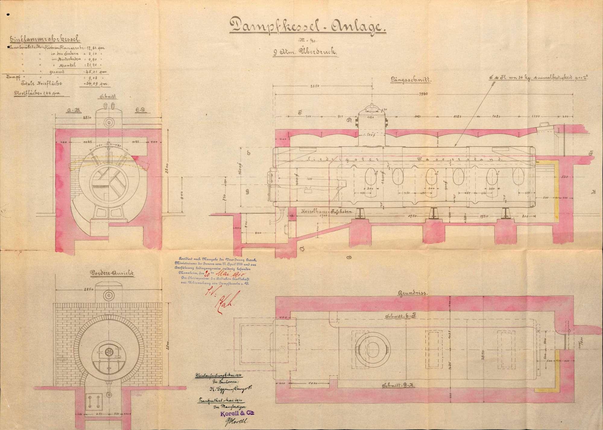 Dampfkessel der Firma Eggemann, Lange & Co. in Kleinlaufenburg bzw. Laufenburg (Baden), Bild 3