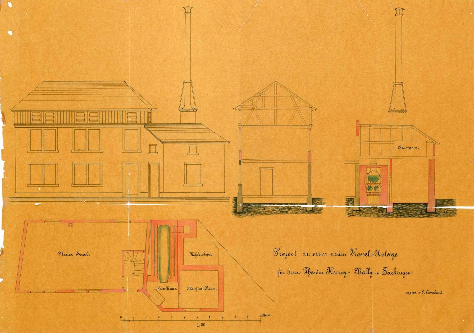 Dampfkessel der Firma Herzog-Bally in Säckingen, Bild 1