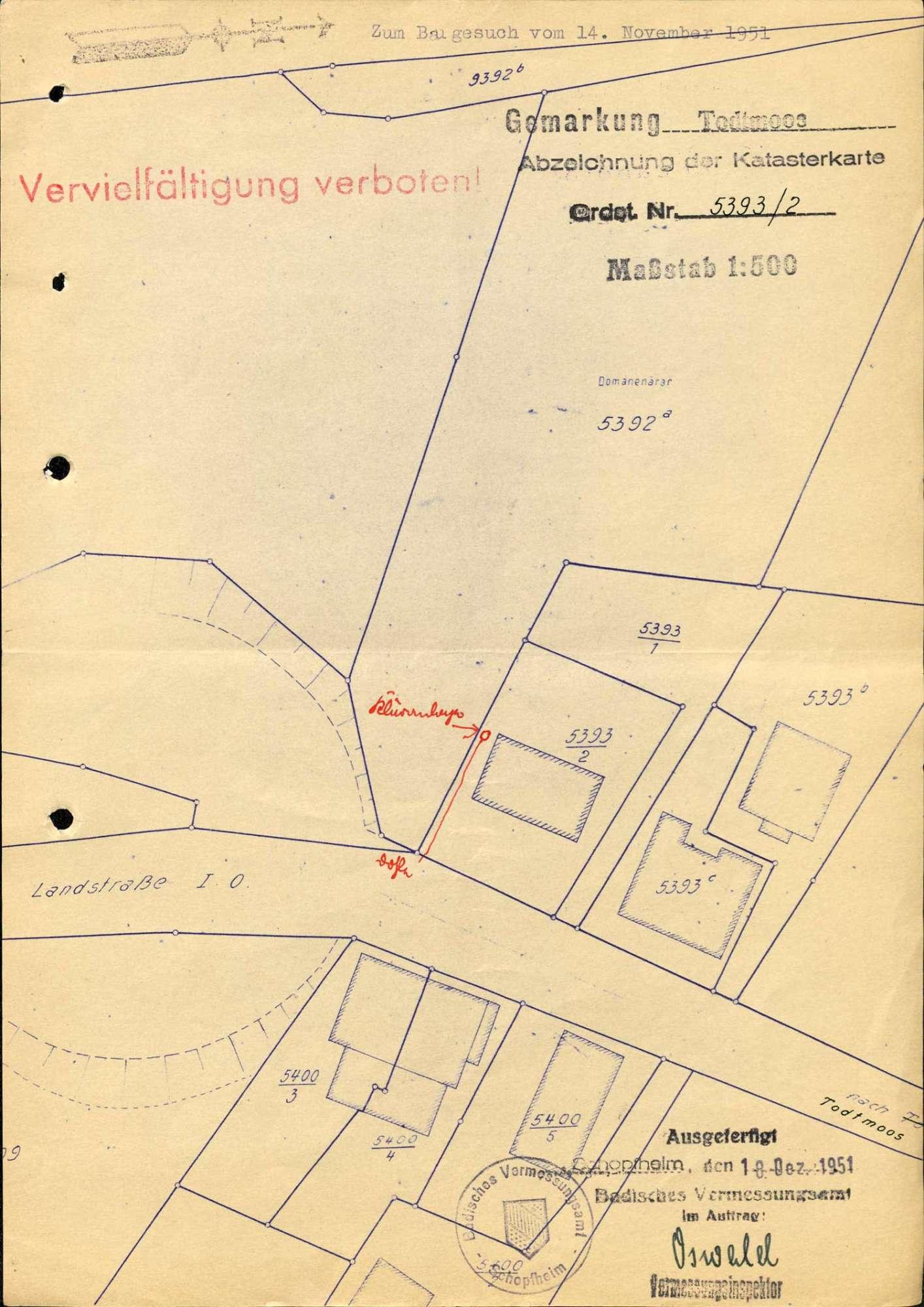 Gesuch des Julius Oberländer um Genehmigung zum Bau einer OMS-Frischwasser-Kläranlage und Ableitung der Abwässer in die Straßendohle der Landstraße in Todtmoos, Bild 3