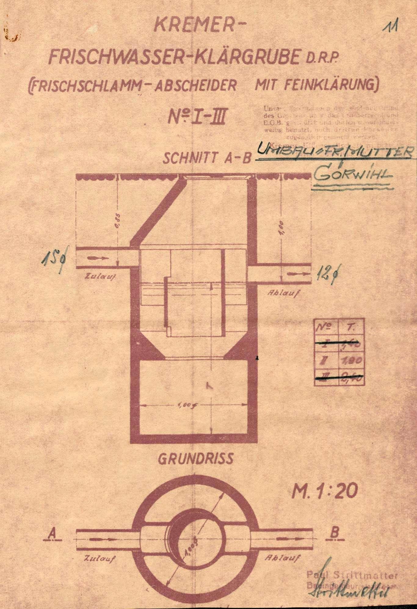 Gesuch des Kaufmanns Franz Müller in Görwihl um wasser- und baupolizeiliche Genehmigung zur Erstellung einer Kläranlage in seinem Wohnhaus sowie deren Betrieb, Bild 3