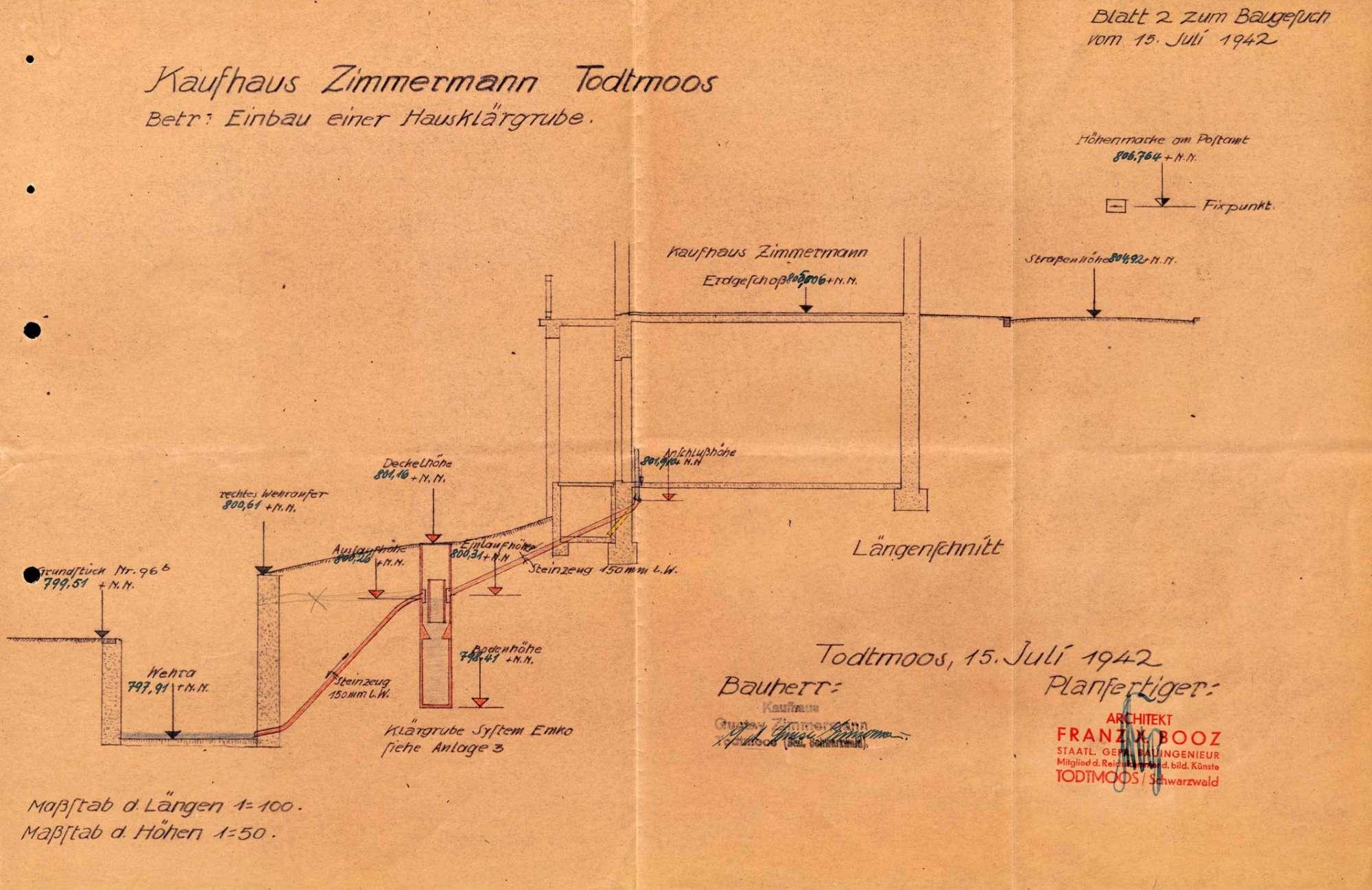 Einbau und Betrieb einer Hausklärgrube im Kaufhaus Zimmermann in Todtmoos, Bild 2